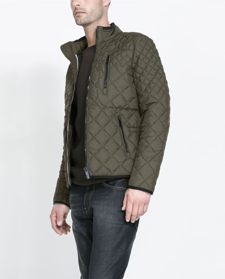 Zara Quilted Jacket In Khaki For Men Lyst