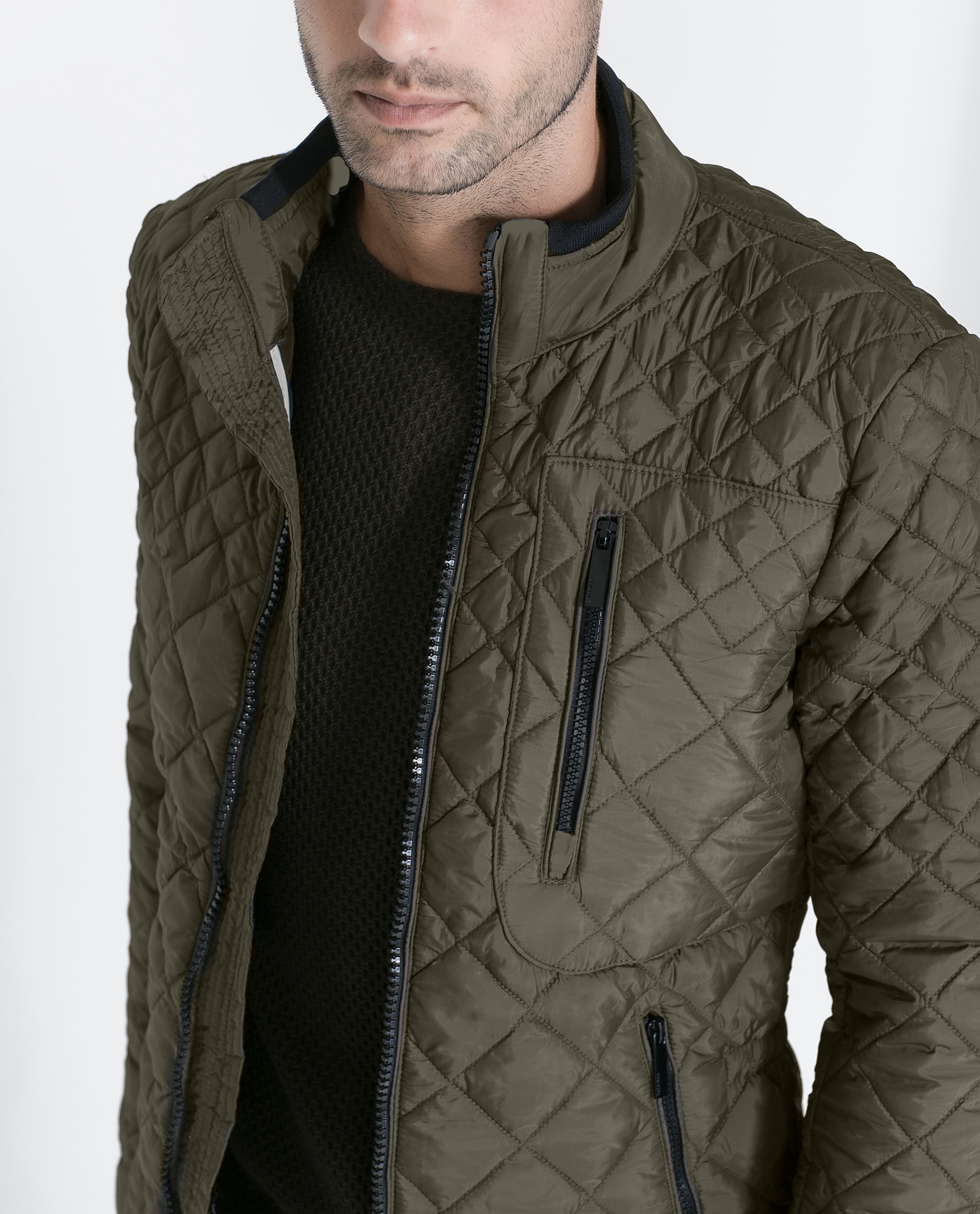 Zara Quilted Jacket In Natural For Men Lyst