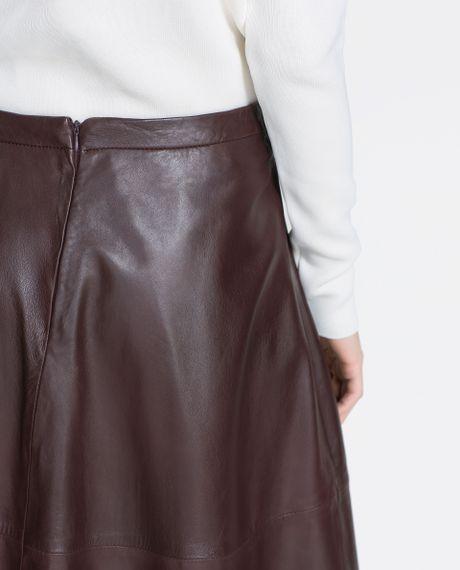 zara leather skirt in brown maroon lyst