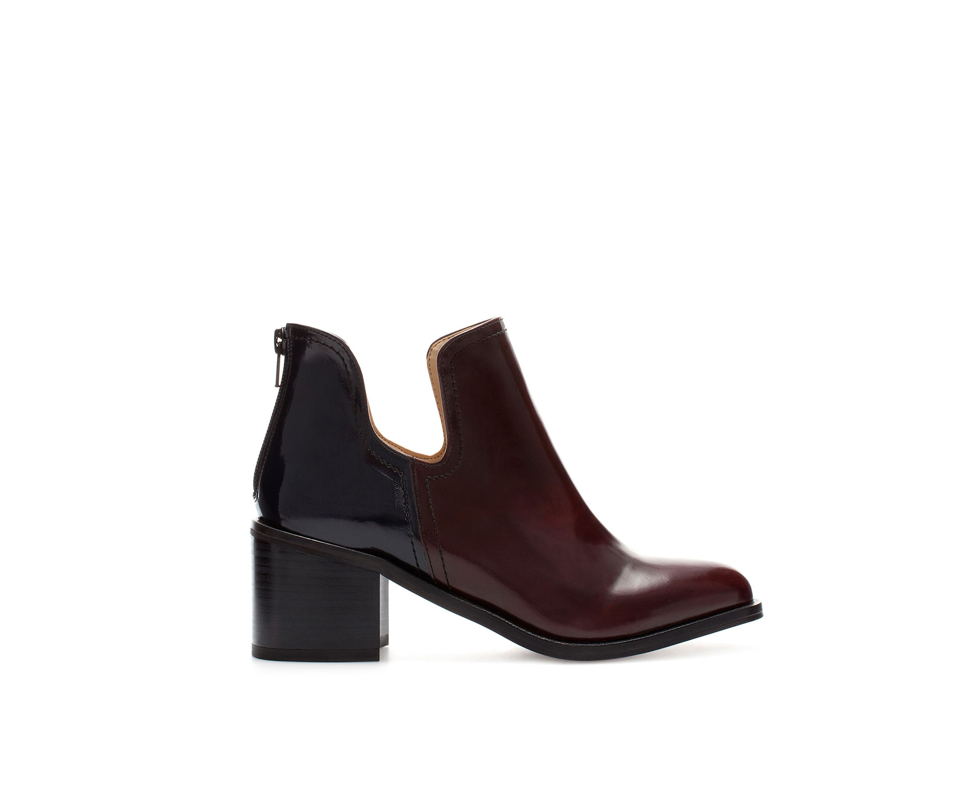 zara combination cut out ankle boot in red multicolour. Black Bedroom Furniture Sets. Home Design Ideas