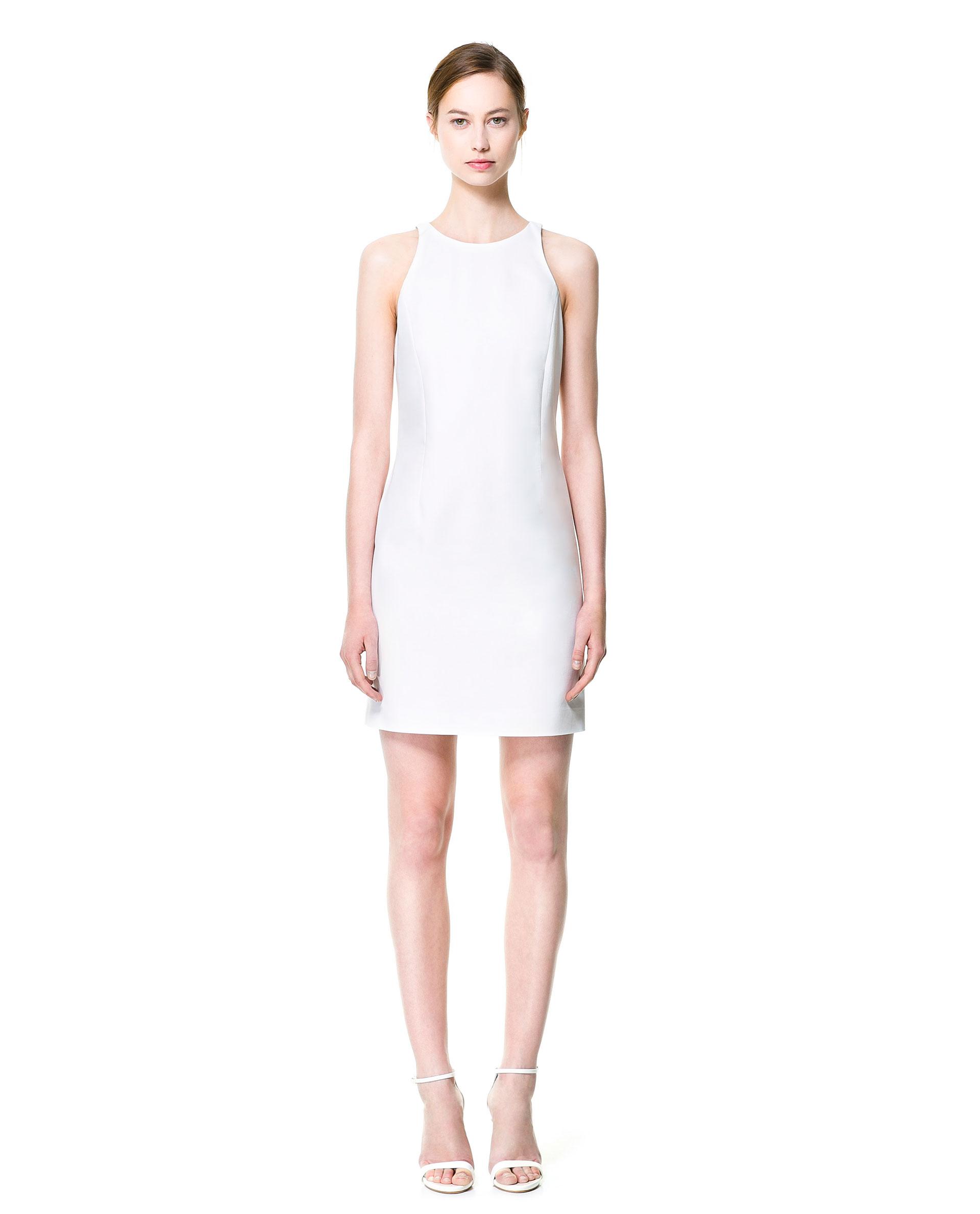 Zara Halter-neck Dress in White | Lyst
