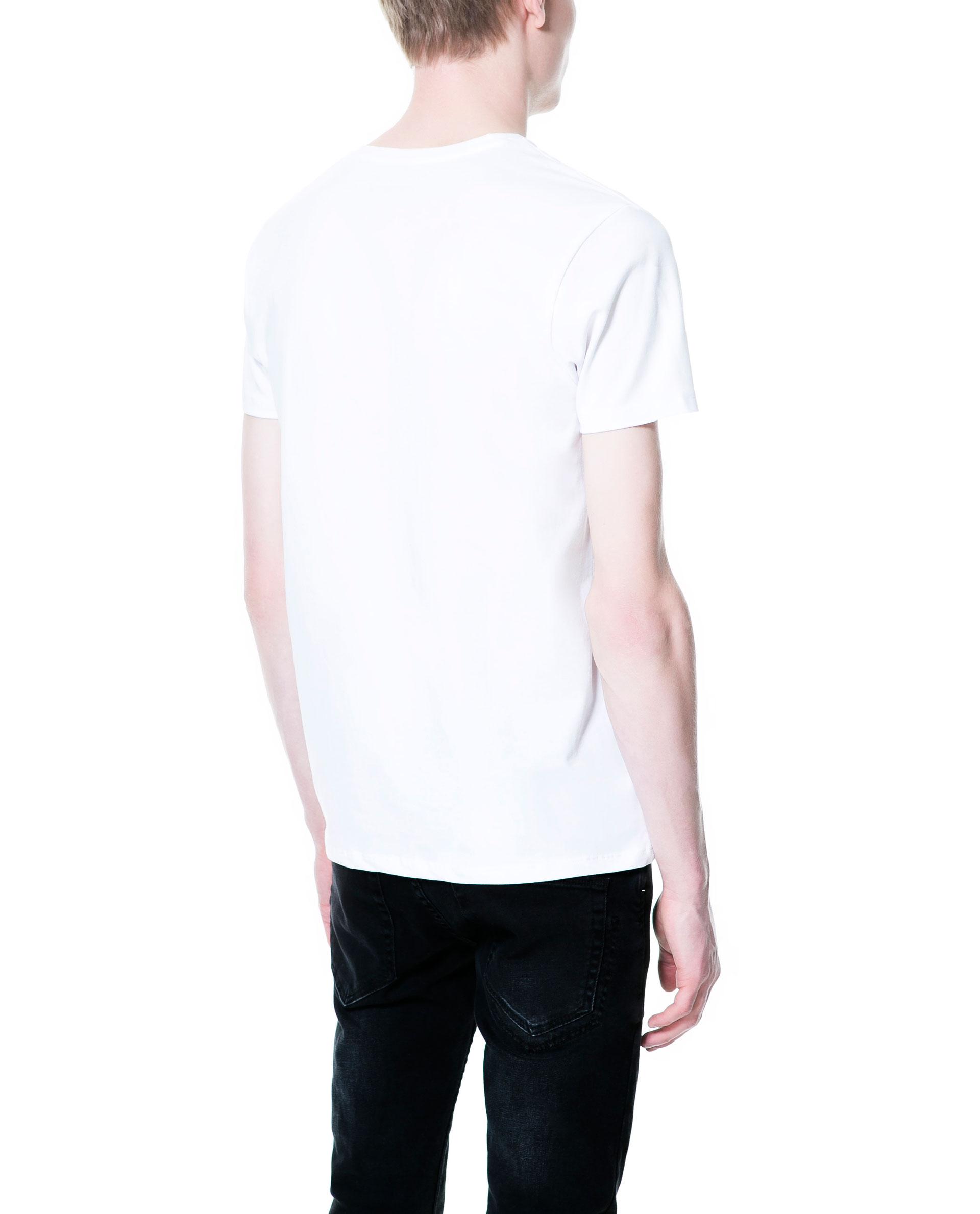 zara super slim fit t shirt in white for men lyst