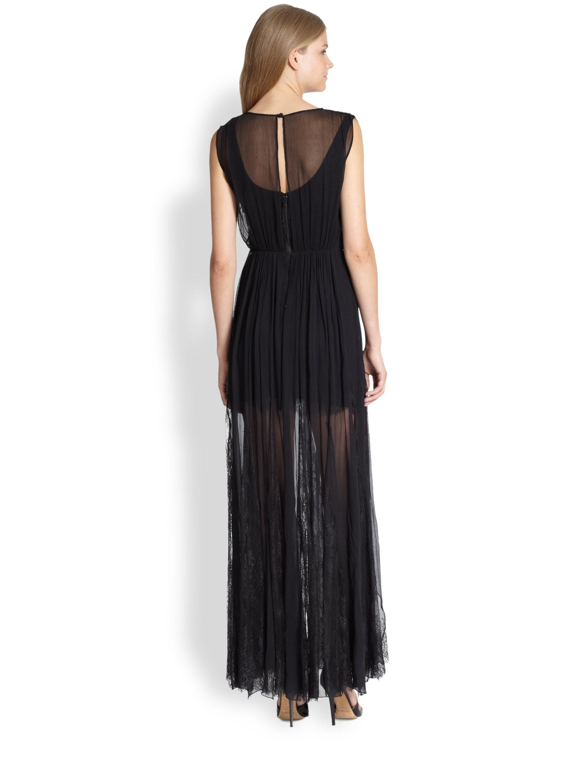 e02a1cb9de Alice + Olivia Sami Silk Lace Dress in Black - Lyst