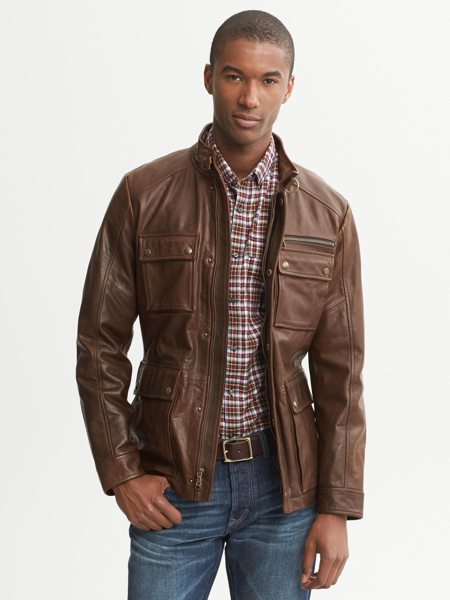 Banana Republic Heritage Brown Leather Jacket Brown For