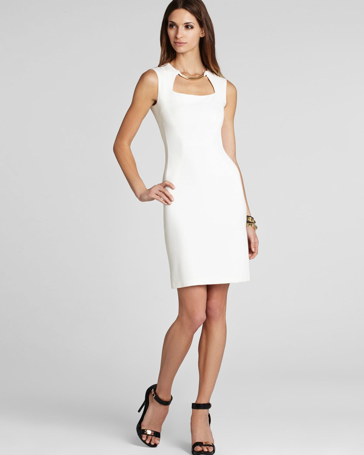 Lyst bcbgmaxazria dress clara blocked sheath in white for Bloomingdales dresses for wedding guests