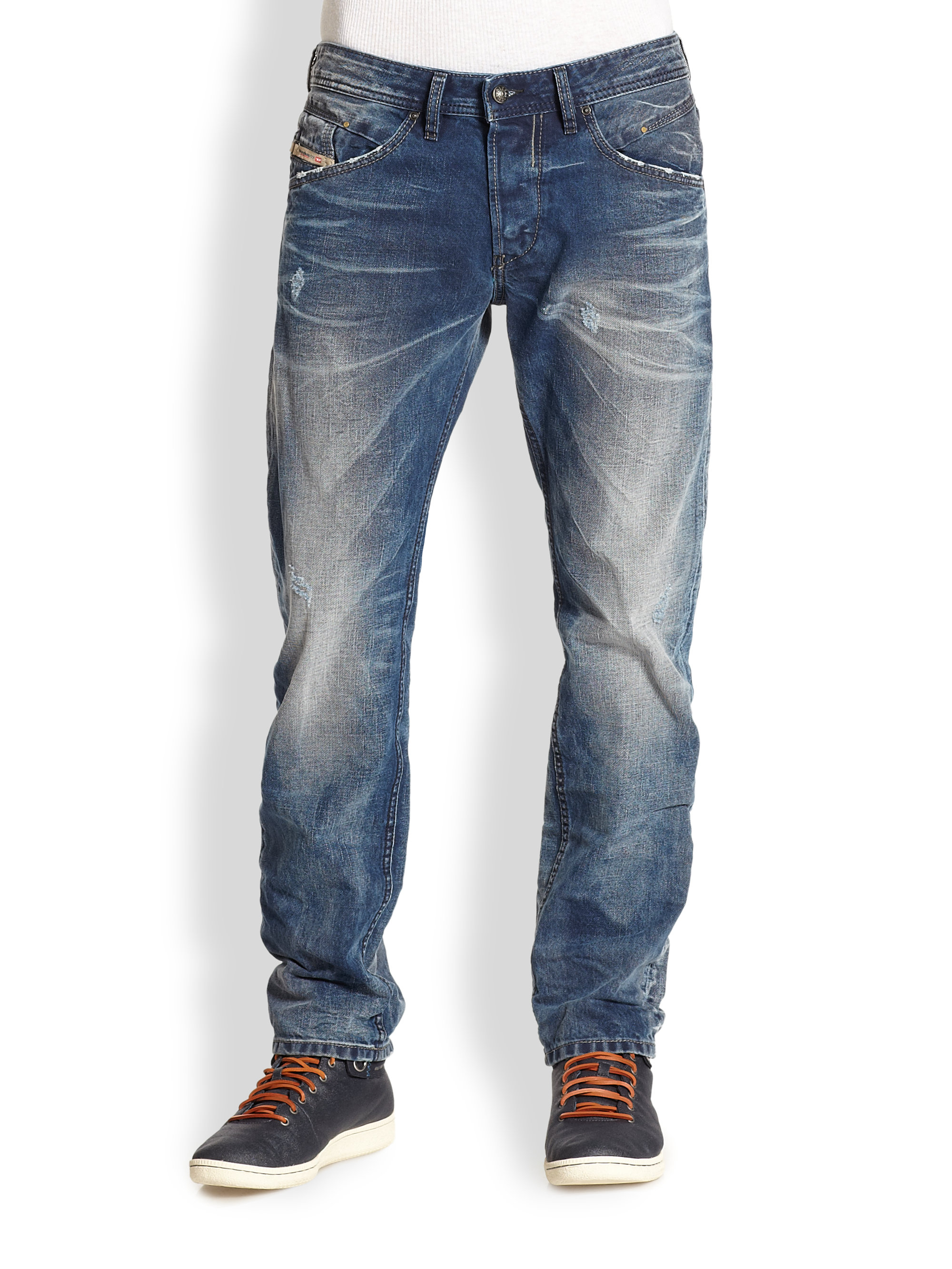 Lyst Diesel Belther Light Wash Jeans In Blue For Men