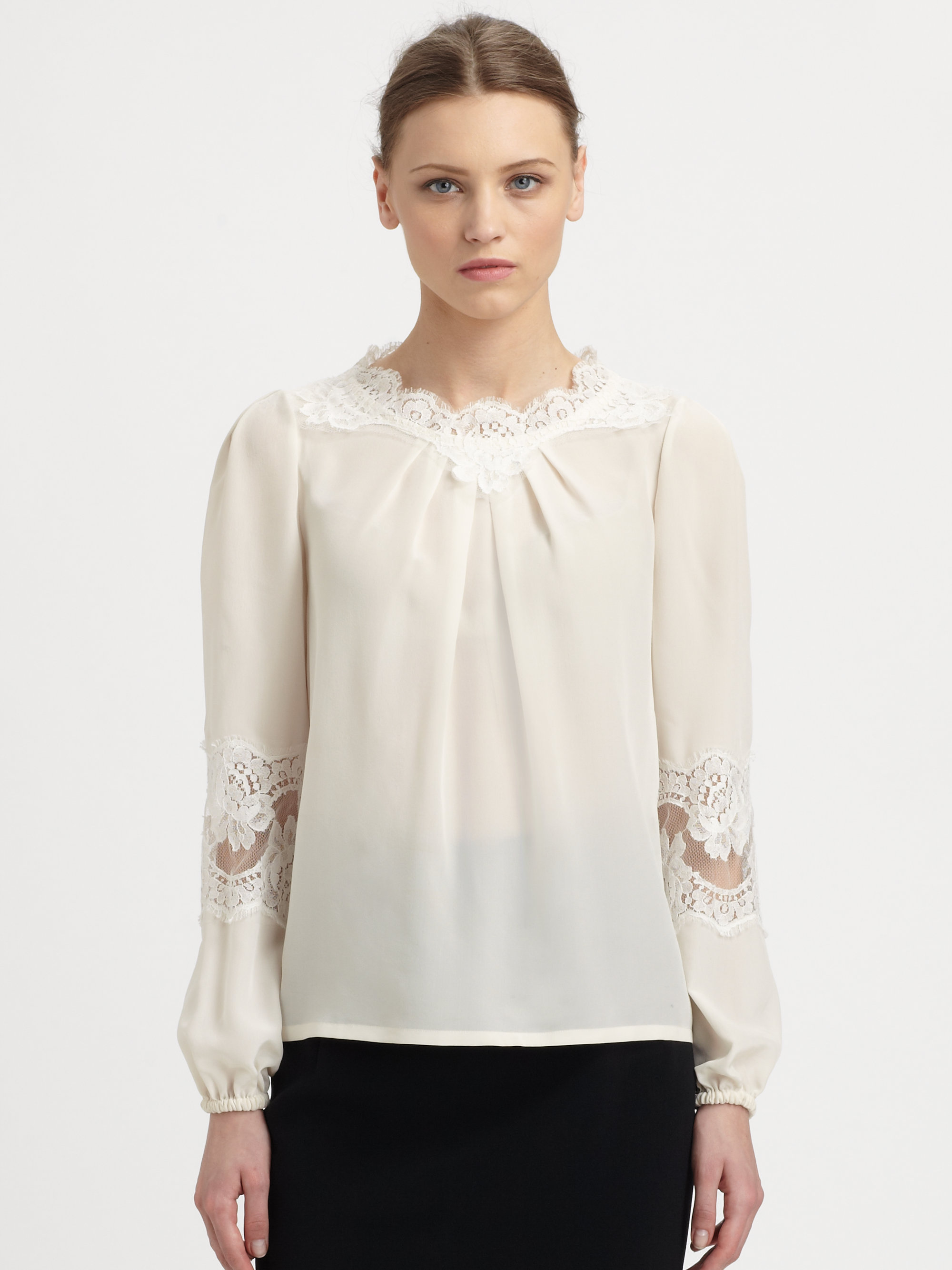 6fe330438ba9d Lyst - Dolce   Gabbana Lace Detail Silk Blouse in White