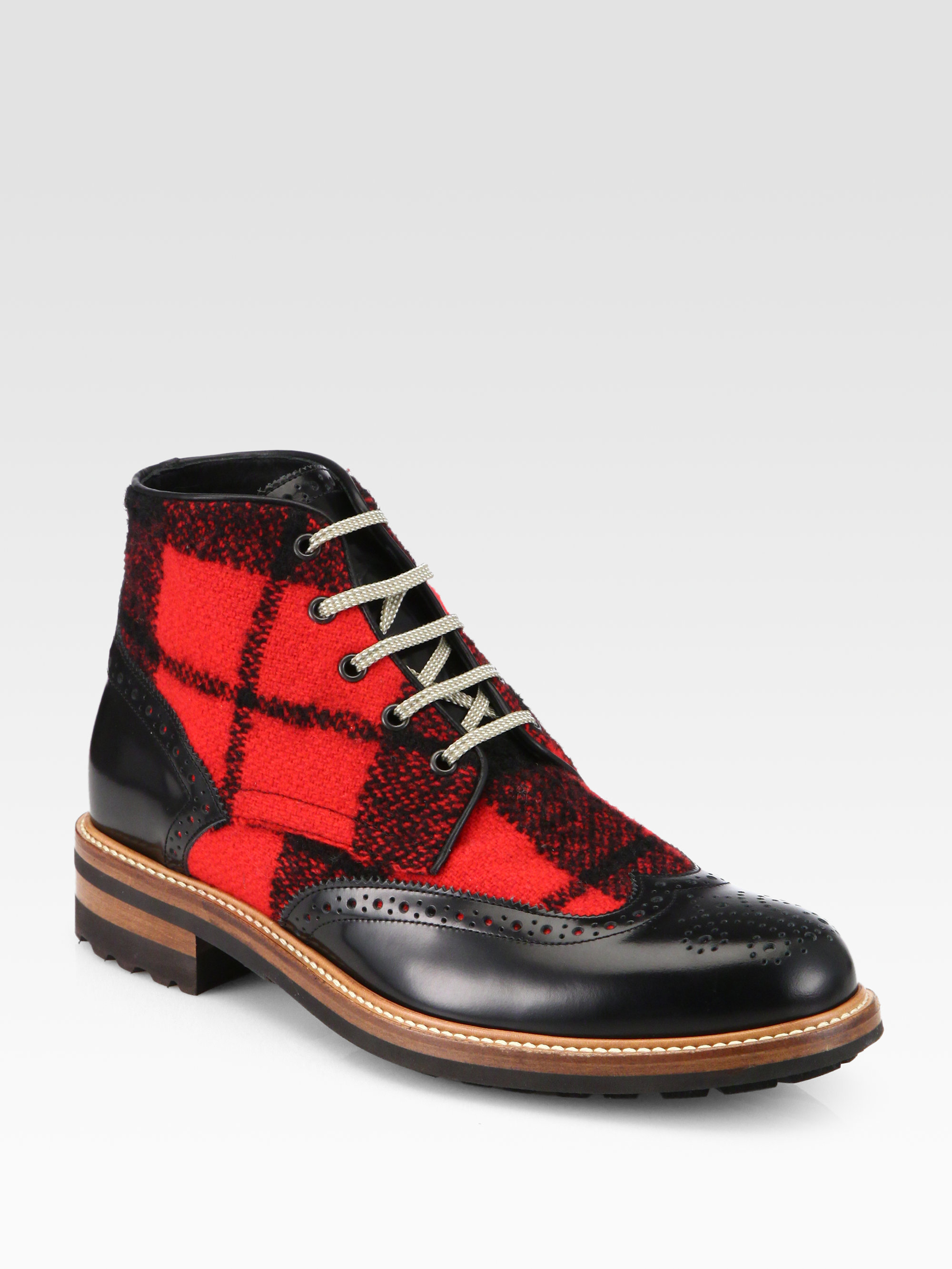 e05980f12bb DSquared² Leather and Wool Ankle Boots in Red for Men - Lyst