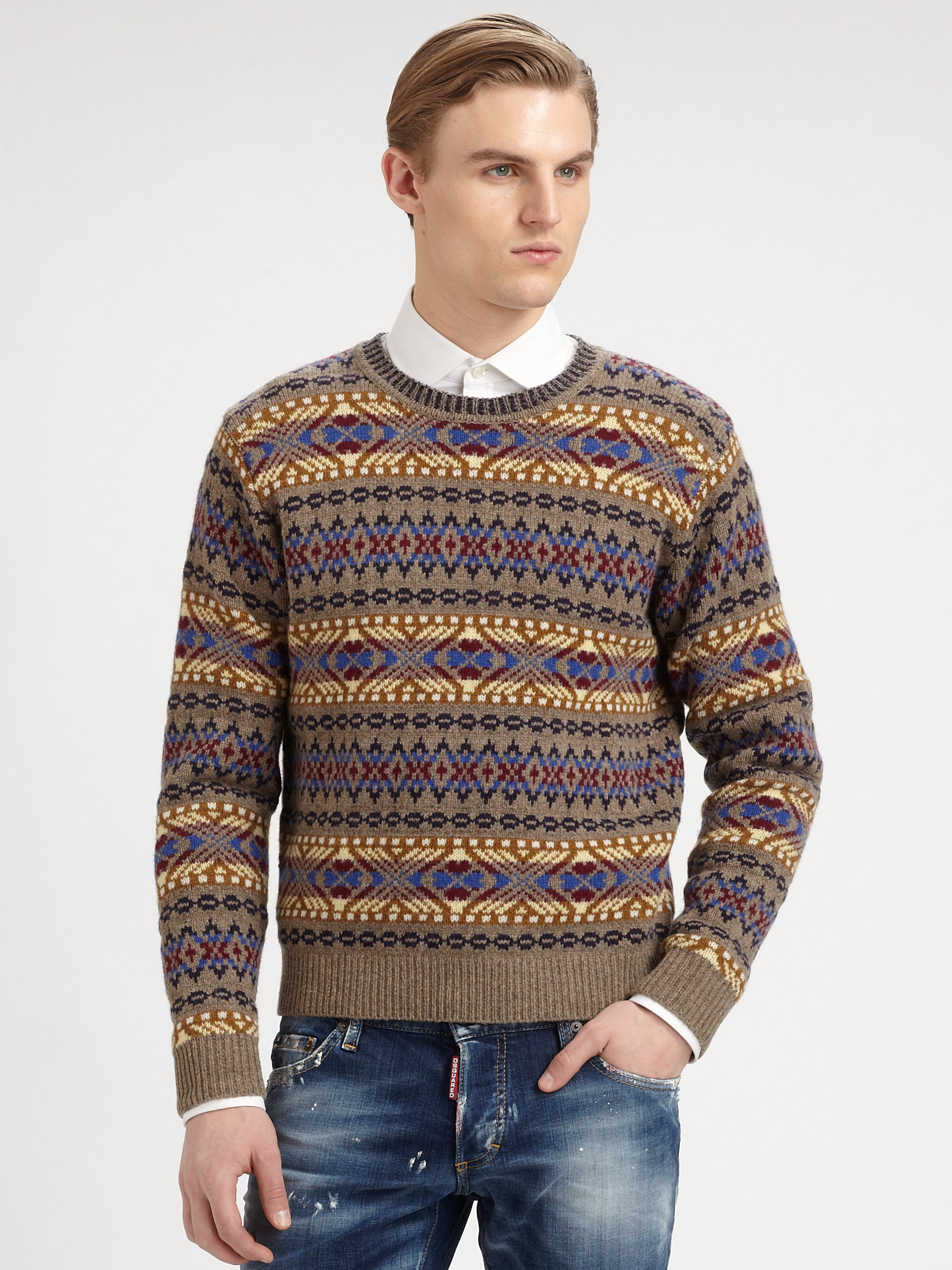 lyst dsquared fair isle wool sweater for men. Black Bedroom Furniture Sets. Home Design Ideas