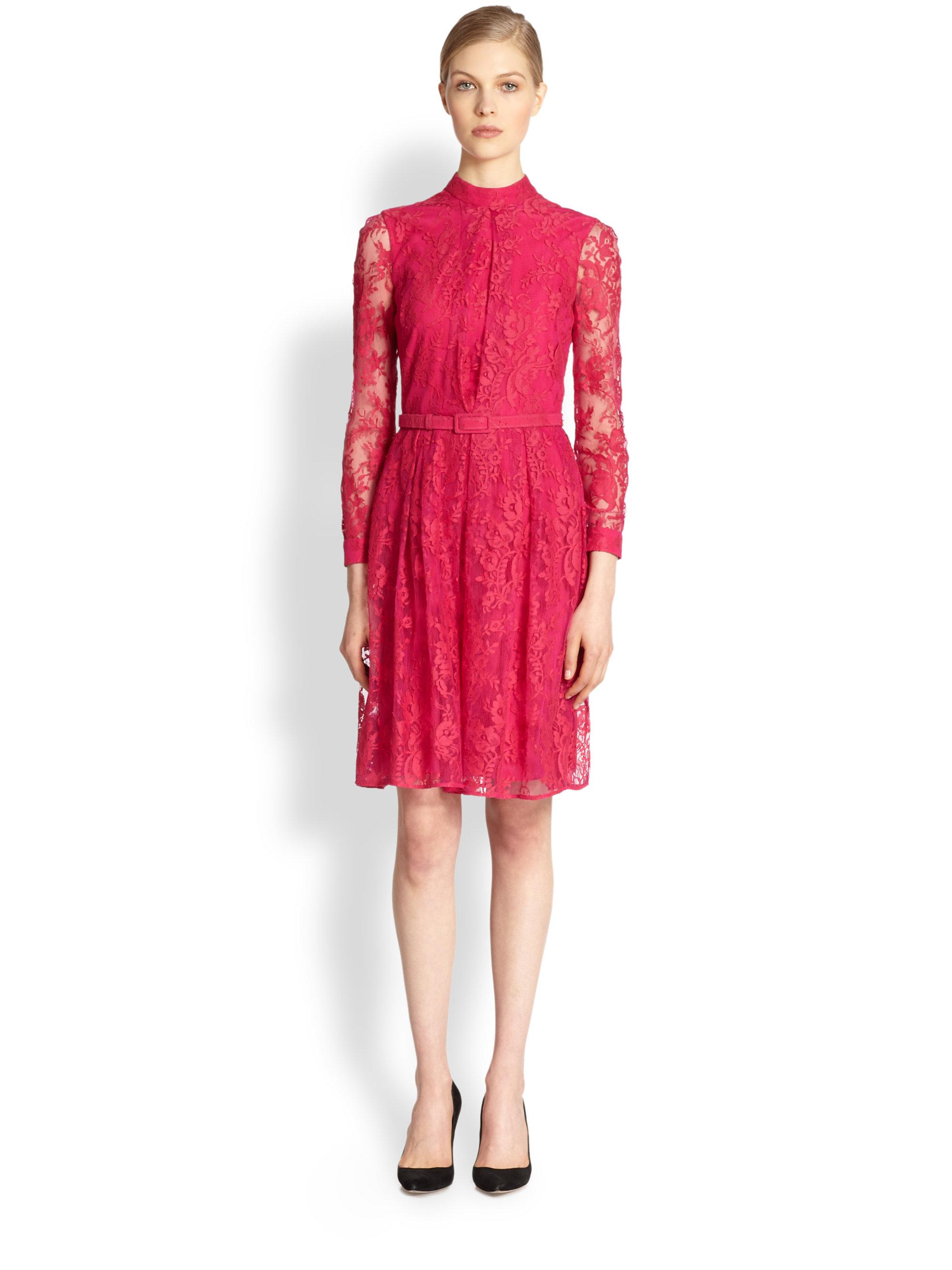 Erdem Elira Lace Dress in Red | Lyst