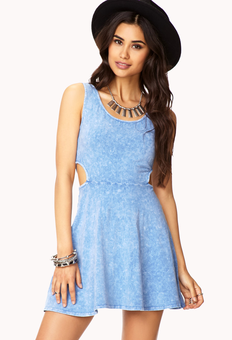 937649fd3ff Lyst - Forever 21 Acid Wash Skater Dress in Blue