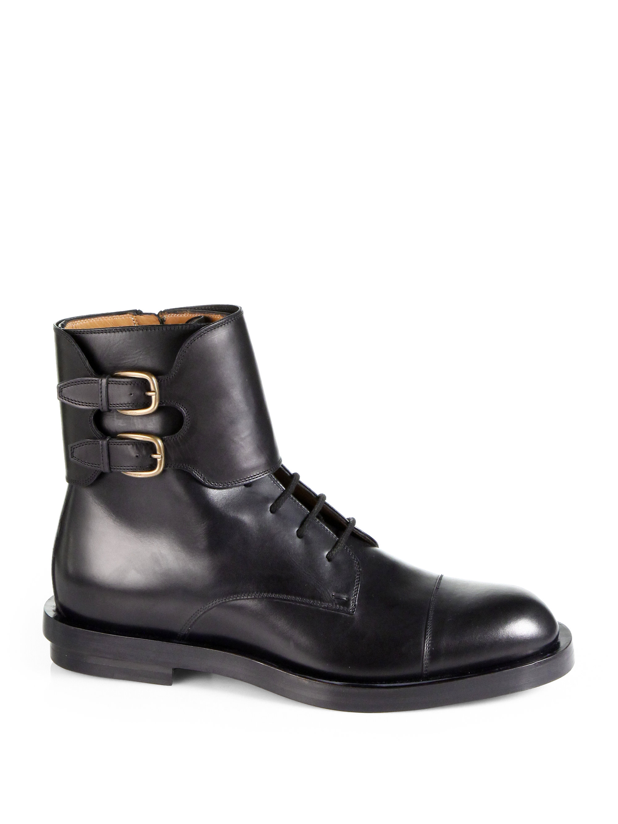 Gucci Leather Double Buckle Military Boots In Black For
