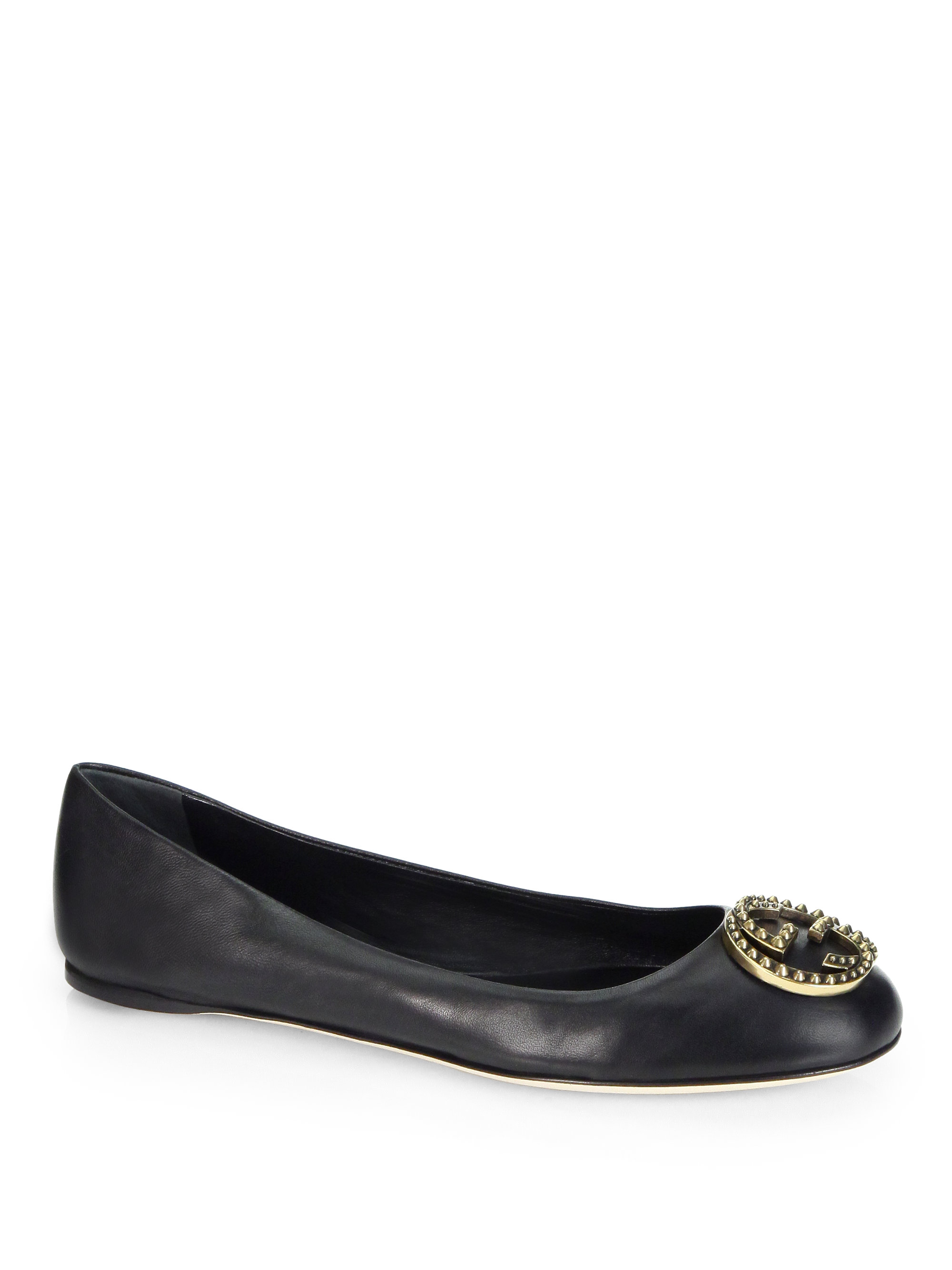 Gucci Leather Logo Ballet Flats in