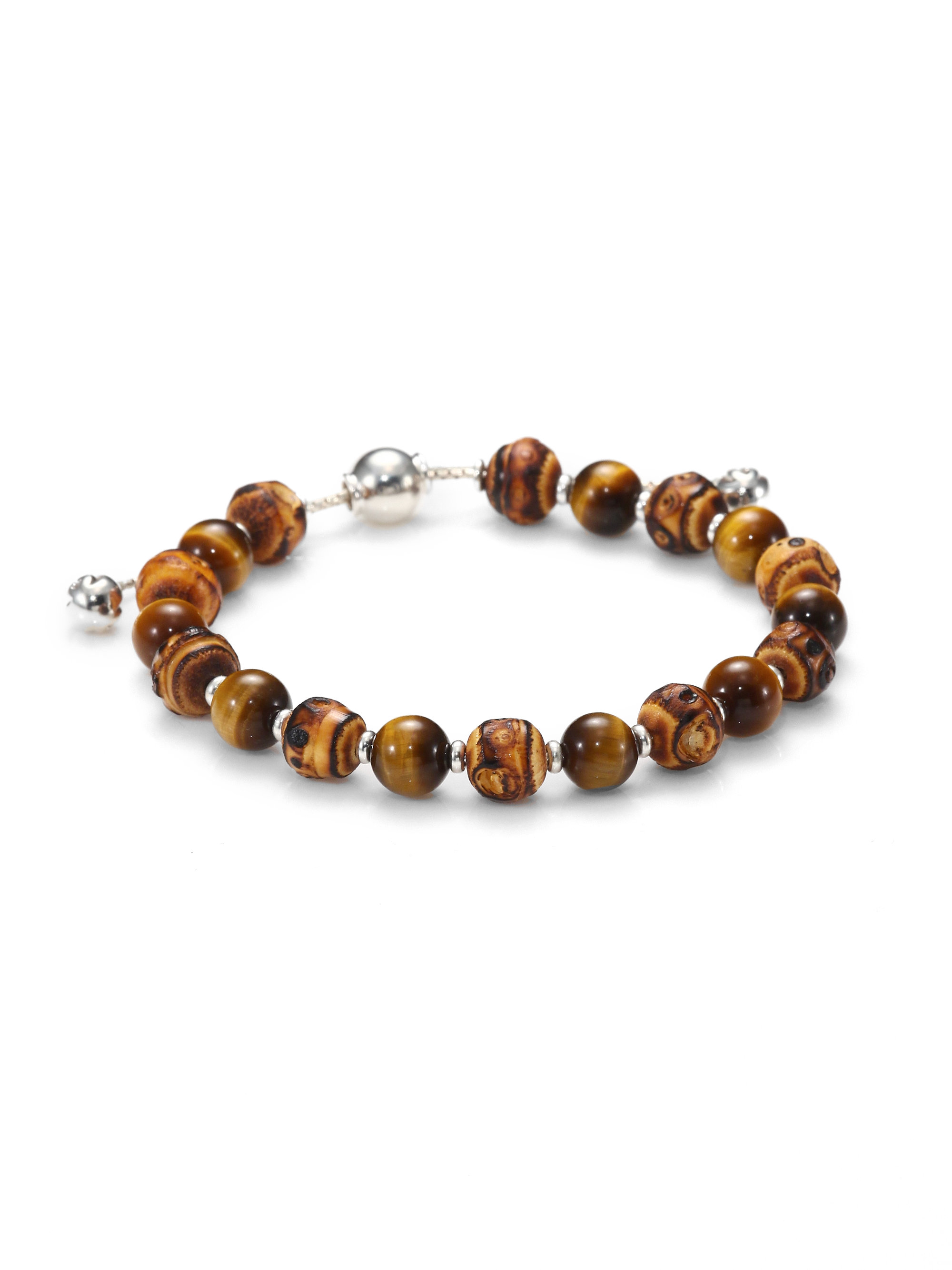 37bcf7e8d1007 Gucci Brown Bamboo, Tiger'S Eye & Sterling Silver Beaded Bracelet