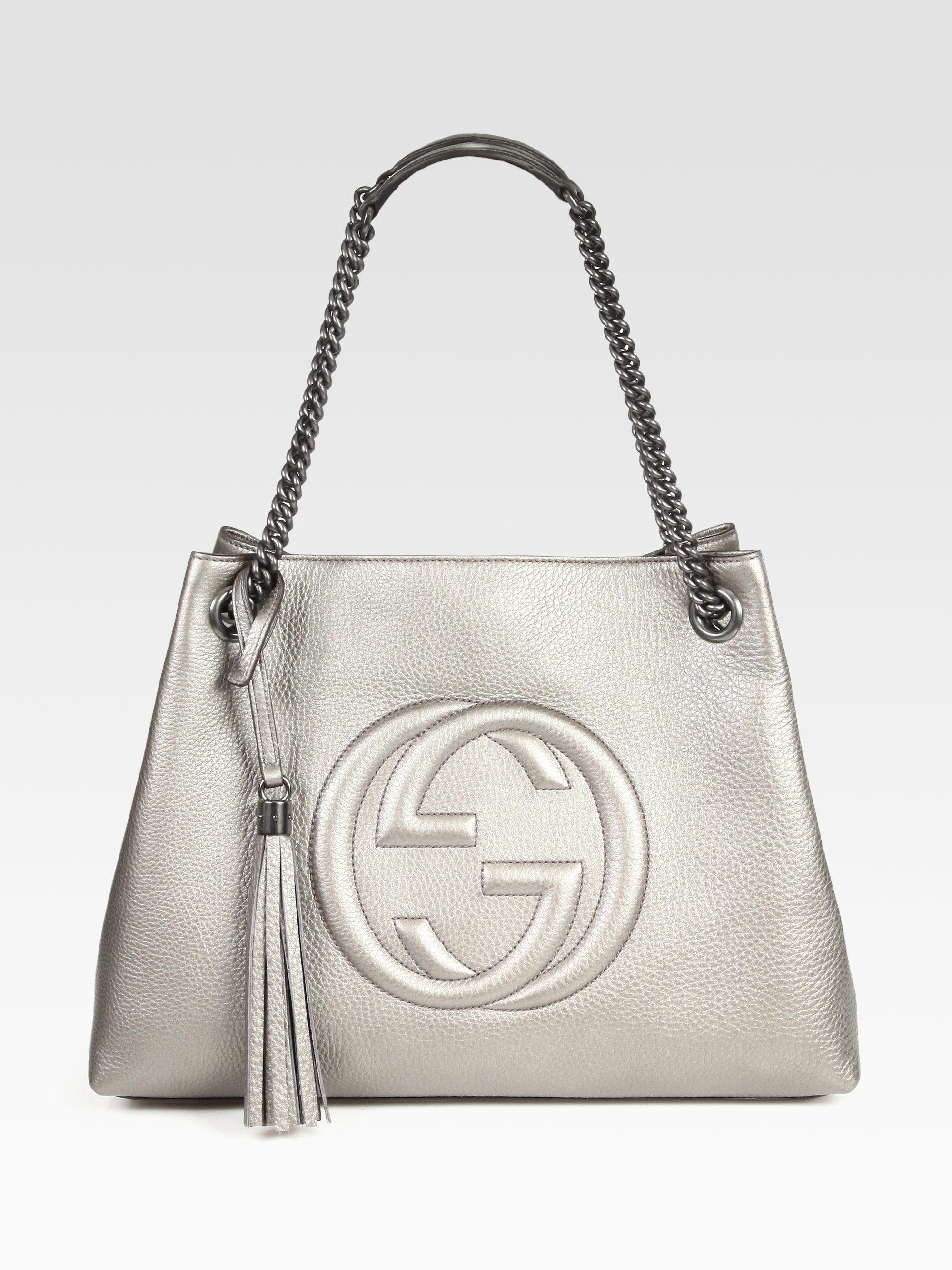 bfbcc780ffb Lyst - Gucci Soho Leather Shoulder Bag in Metallic