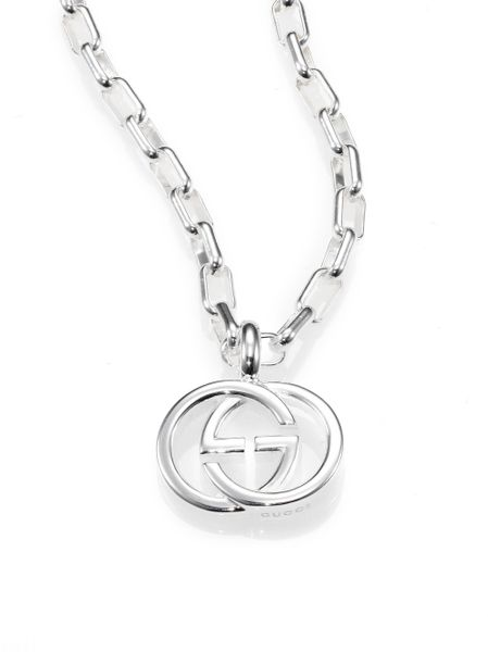Gucci Sterling Silver Interlocking Gg Pendant Necklace In