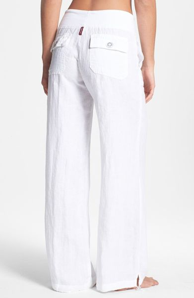 Hard Tail Relaxed Linen Cargo Pants In White Lyst