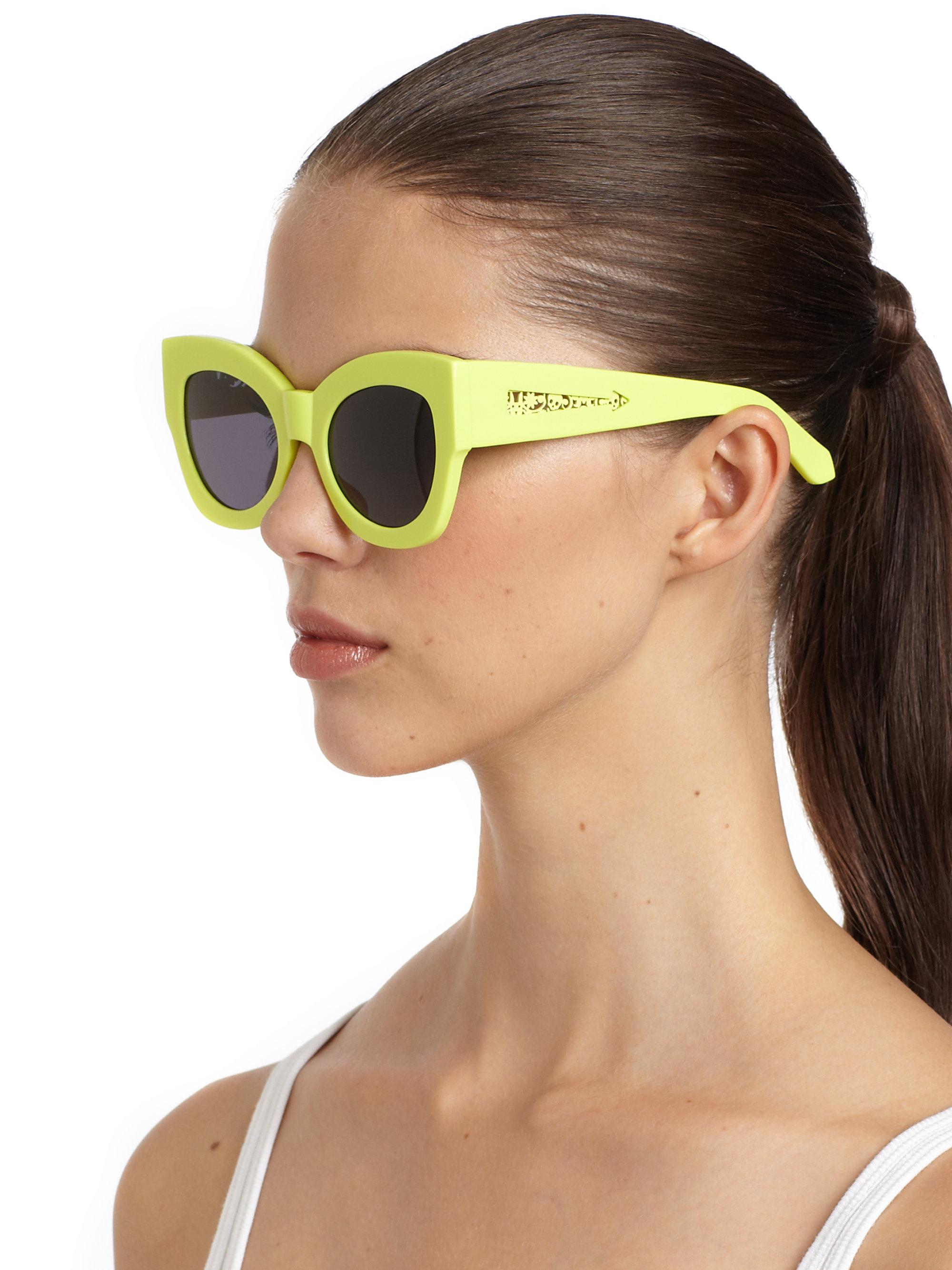 257313d80a Karen Walker Northern Lights Catseye Sunglasses lime in Green - Lyst
