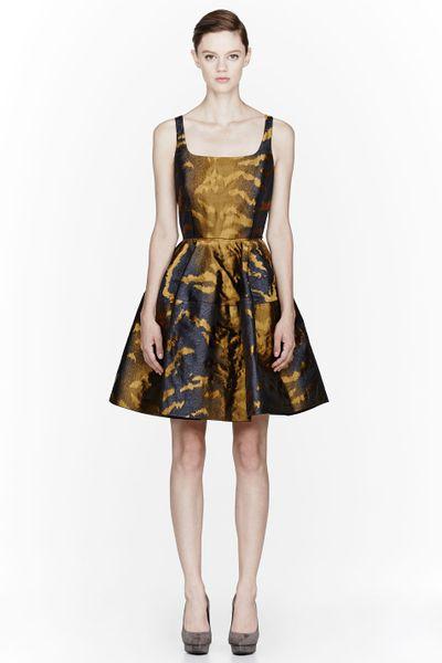 Lanvin Gold Metallic Tiger Print Jacquard Dress In Gold Lyst