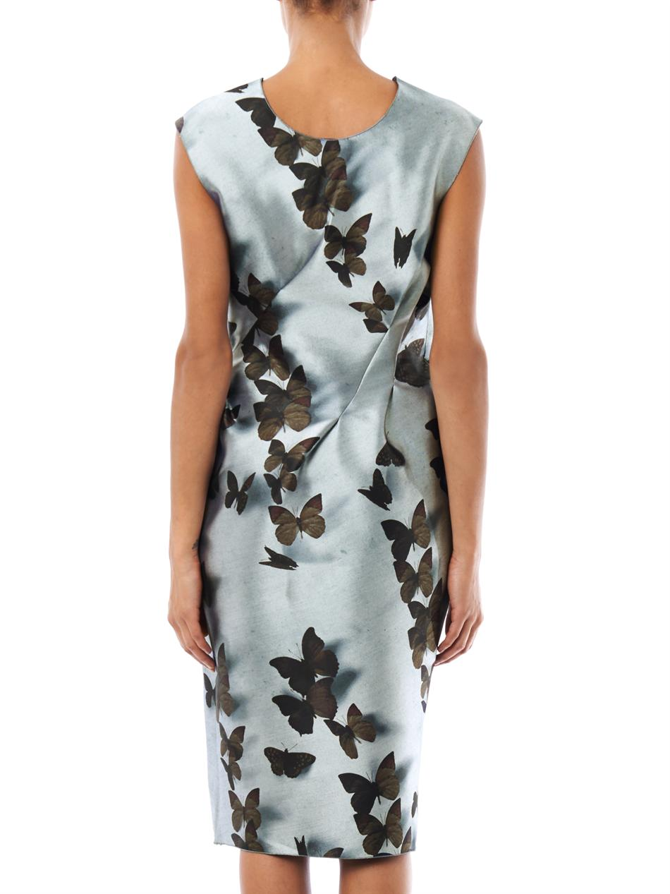 Lyst Lanvin Butterfly Print Fitted Dress In Gray
