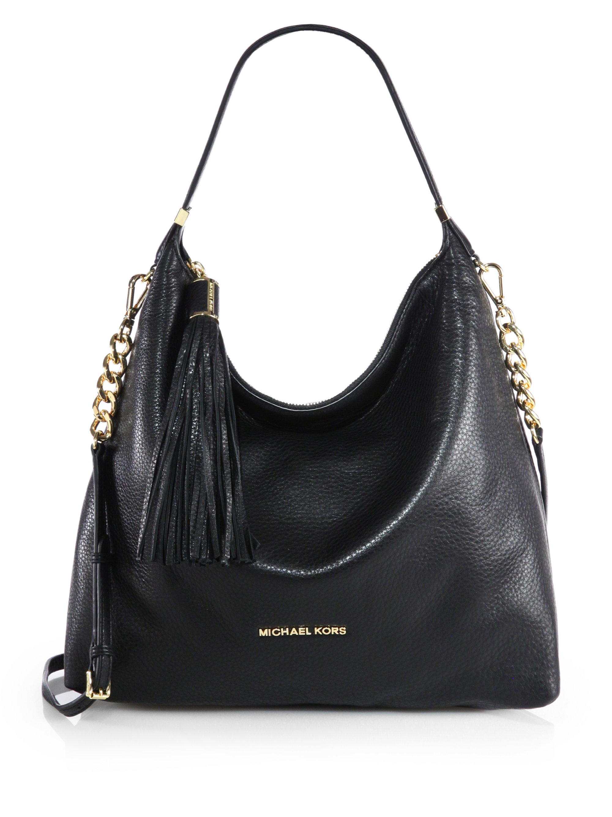 Michael michael kors Large Tassel Shoulder Bag in Black | Lyst
