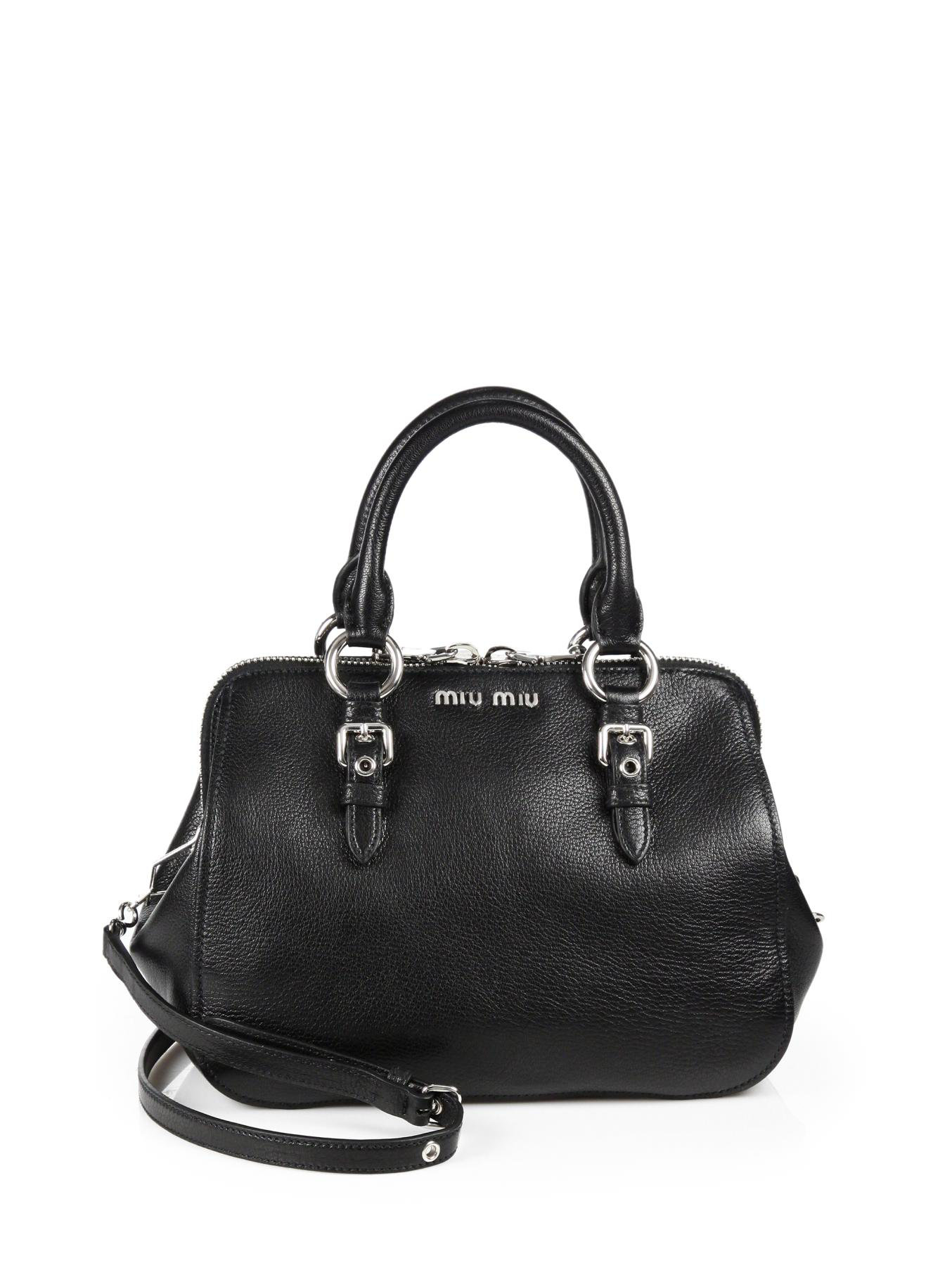 086ff6b9cc7 Miu Miu Madras Top Handle Bowling Bag in Black - Lyst