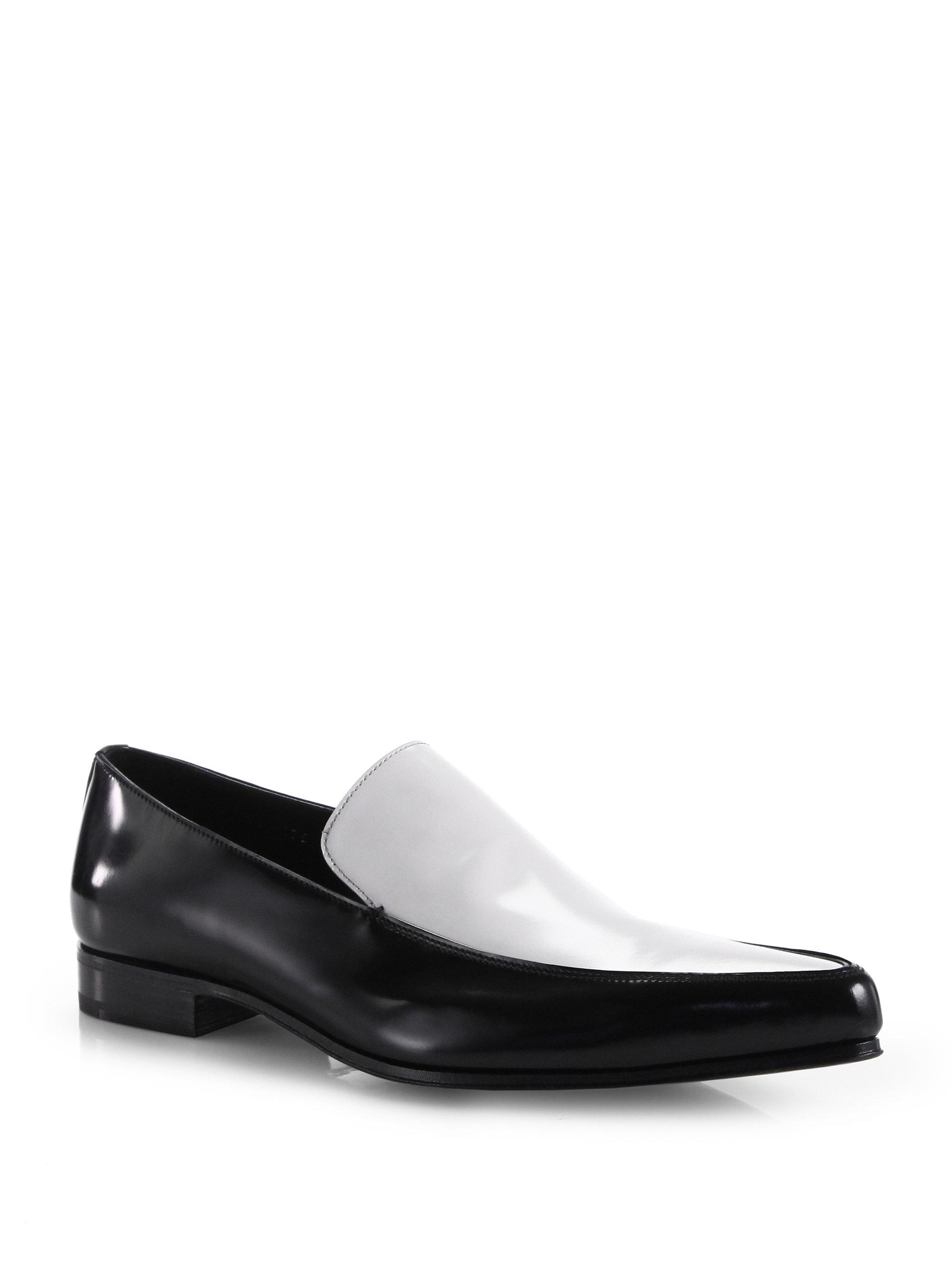 lyst prada bicolor venetian dress shoes in black for men