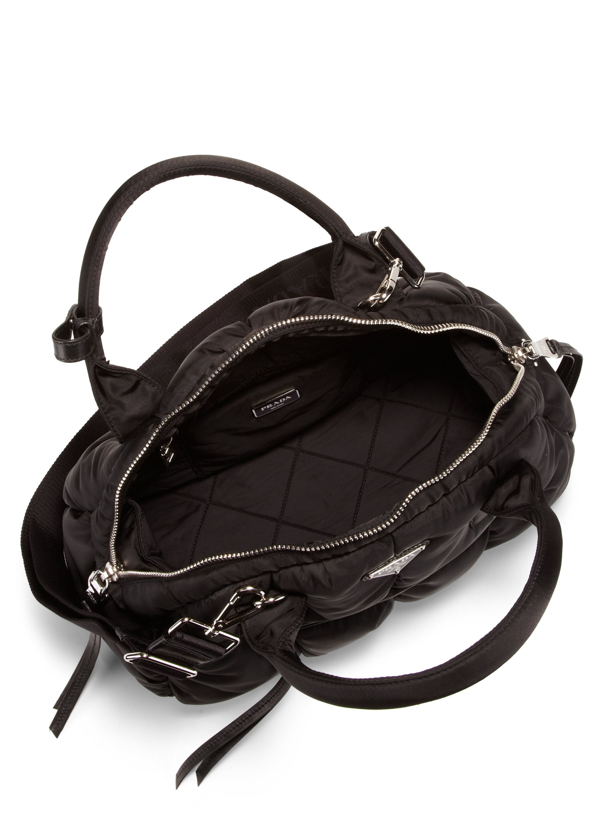 918b7c42a5a6 ... discount code for lyst prada tessuto bomber bowler bag in black 3f138  46ded
