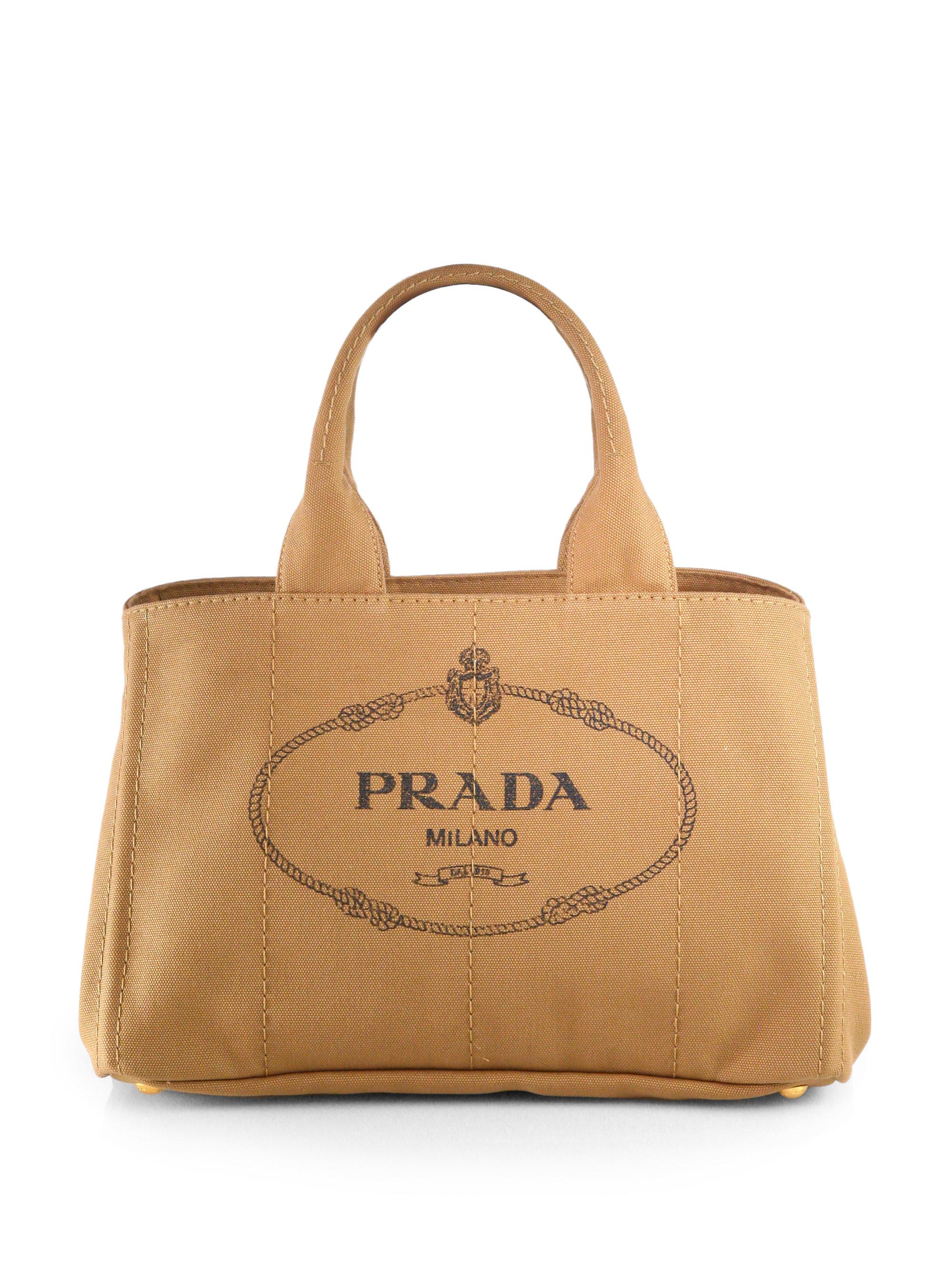 ... natural a73a4 836e6  clearance lyst prada logo printed medium canvas  tote in brown d7871 05eeb 500a96c1a1