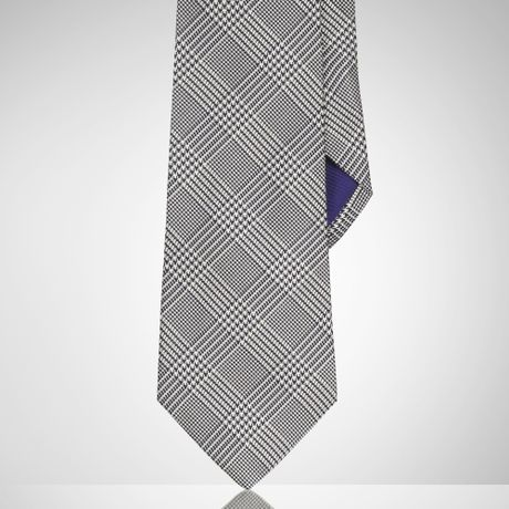 ralph purple label glen plaid silk tie in blue for