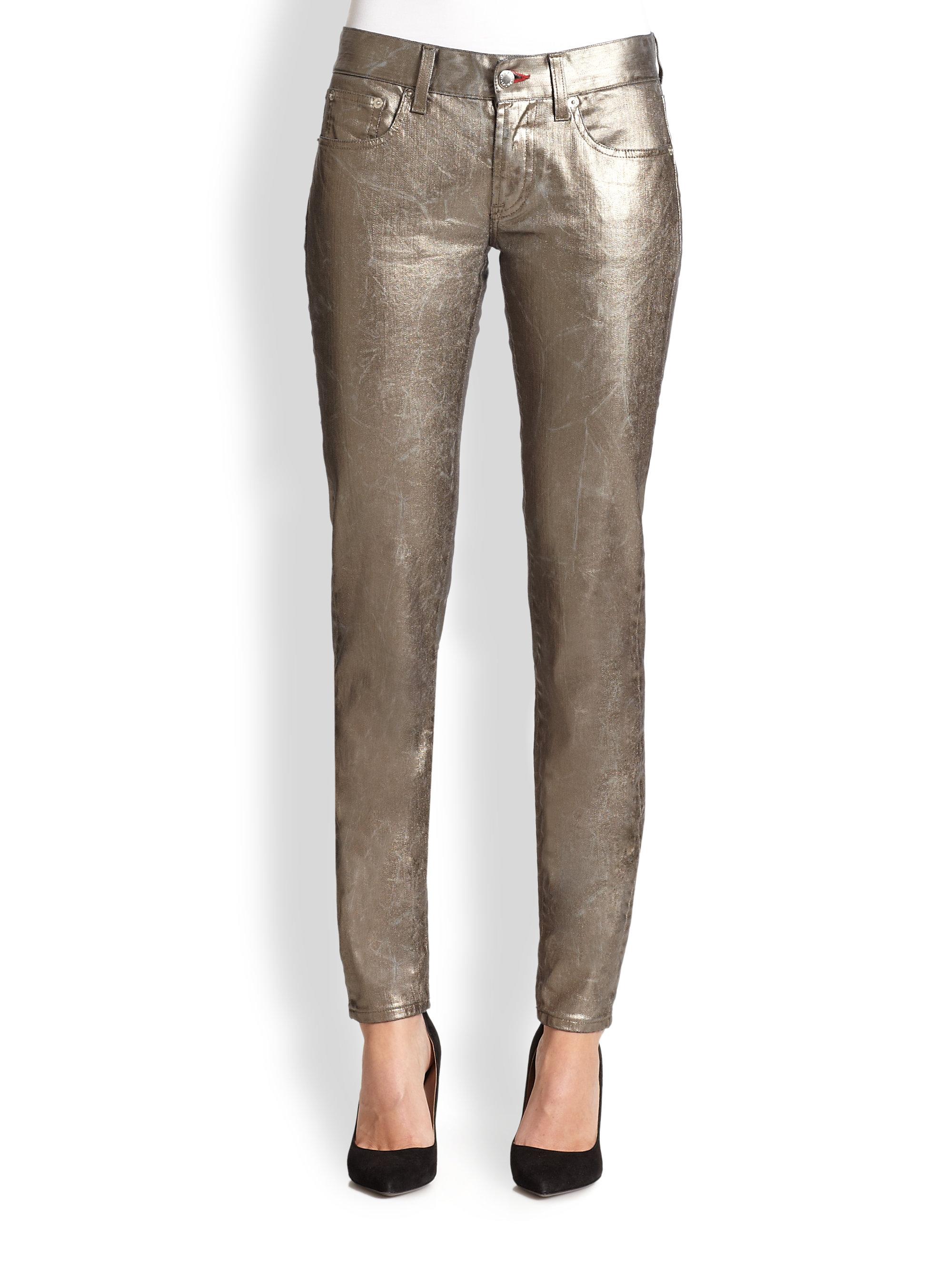 Ralph Lauren Black Label Metallic Matchstick Jeans Lyst