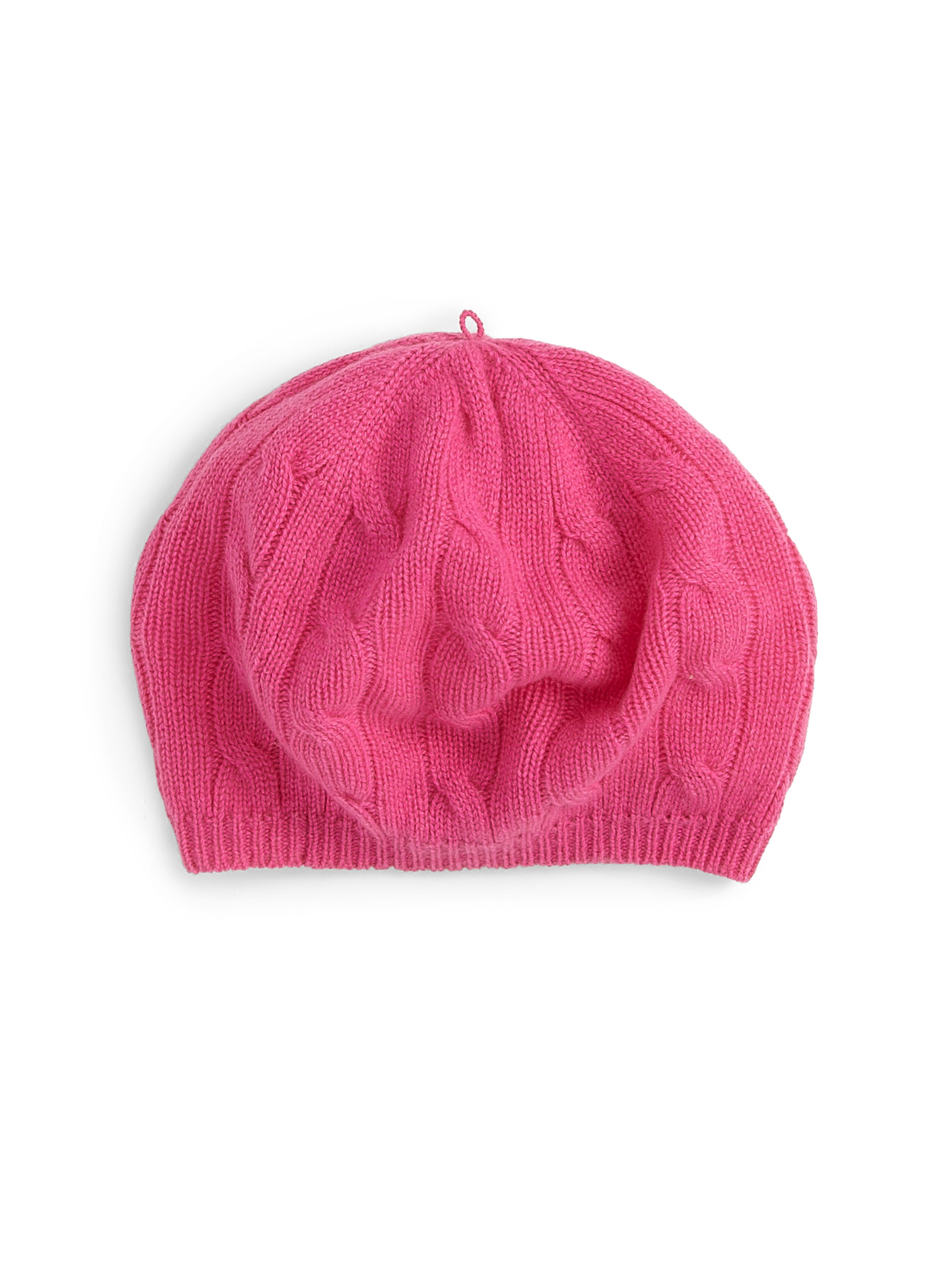 Cashmere Beret Knitting Pattern : Ralph Lauren Little Girls Cashmere Cableknit Beret in Pink Lyst