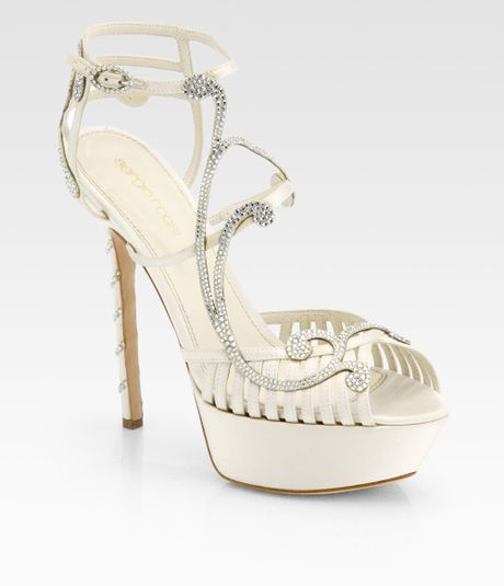 Bridal Shoes Saks: Sergio Rossi Bridal Crystalcoated Satin Sandals In (WHITE