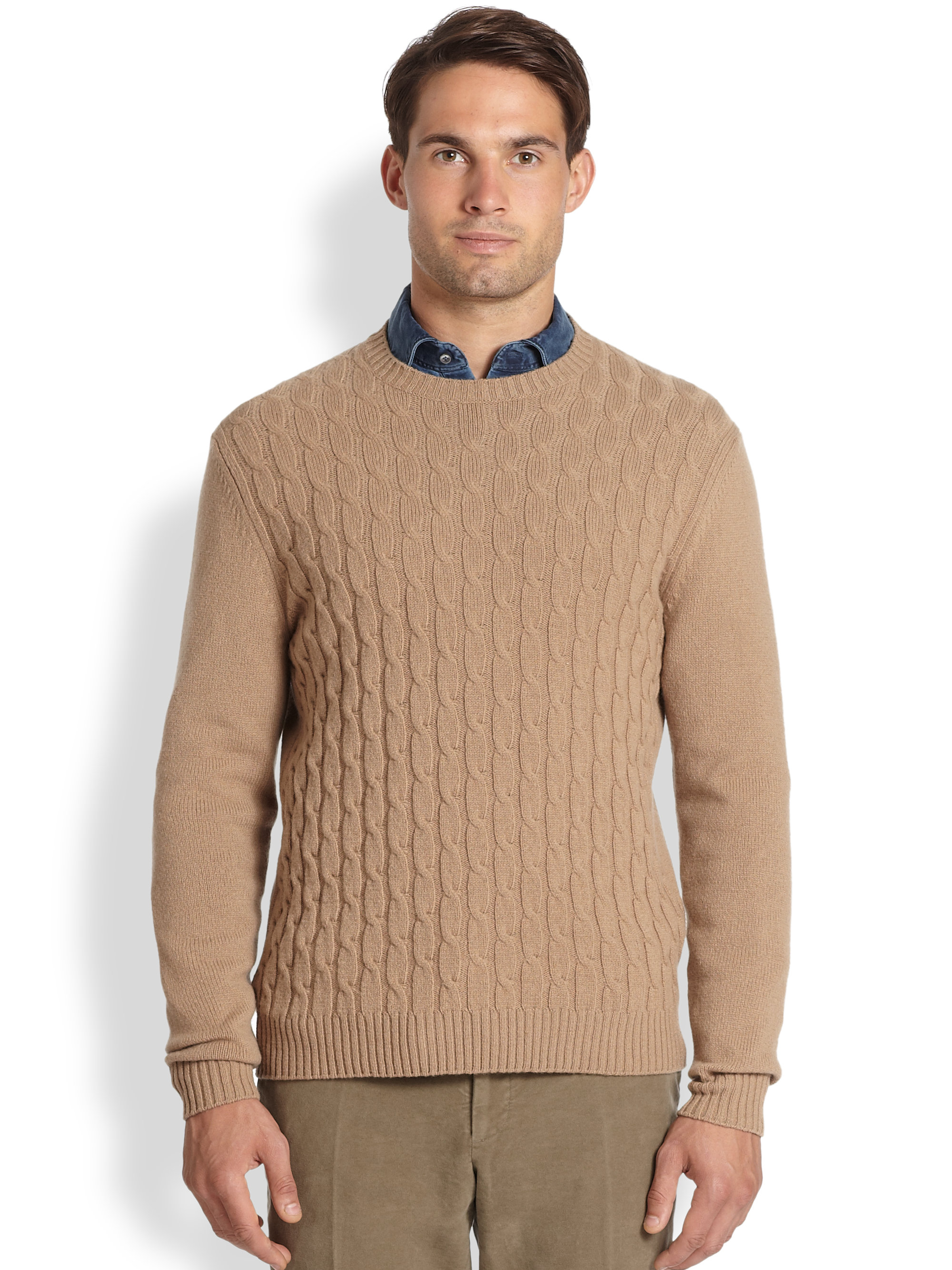 Slowear Zanone Wool Cable Knit Sweater in Natural for Men | Lyst
