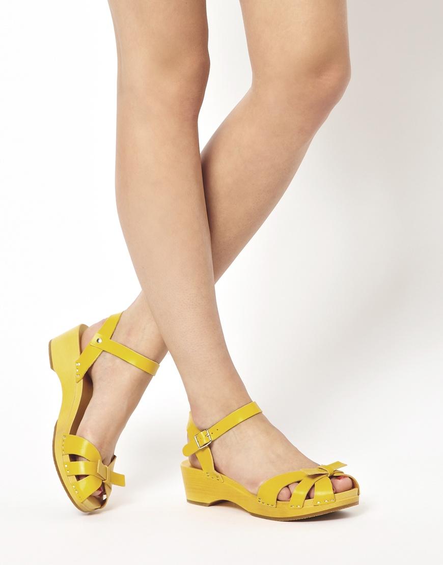 b1cad501380 Swedish Hasbeens Papillon Yellow Flat Sandals
