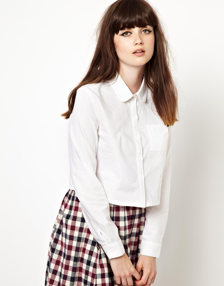 Lyst Asos The Whitepepper Cropped Shirt In White
