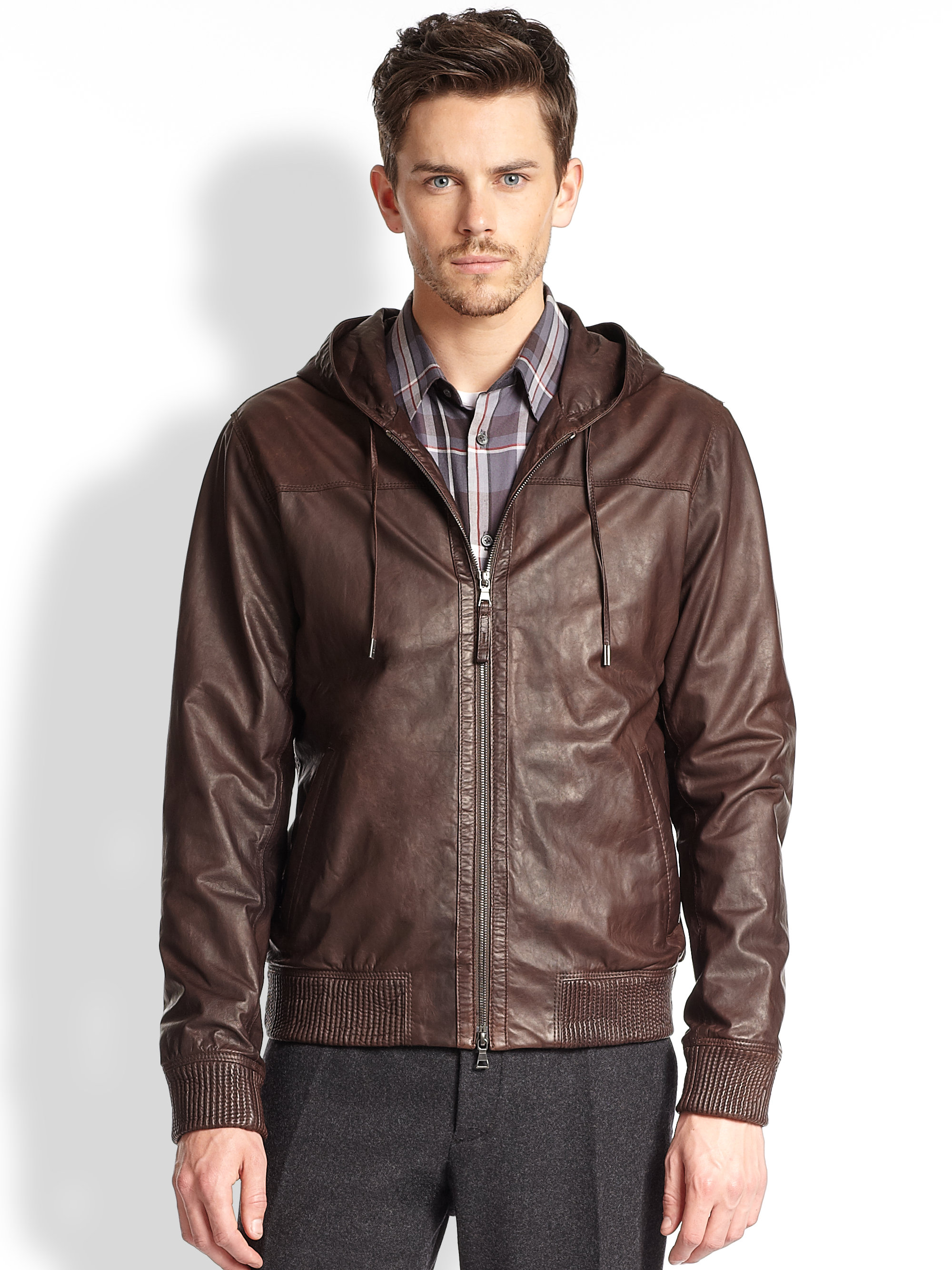 Hooded brown leather jacket