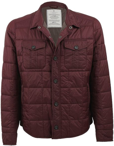 Brunello cucinelli mens snap button shirt jacket in red for Mens shirts with snaps instead of buttons