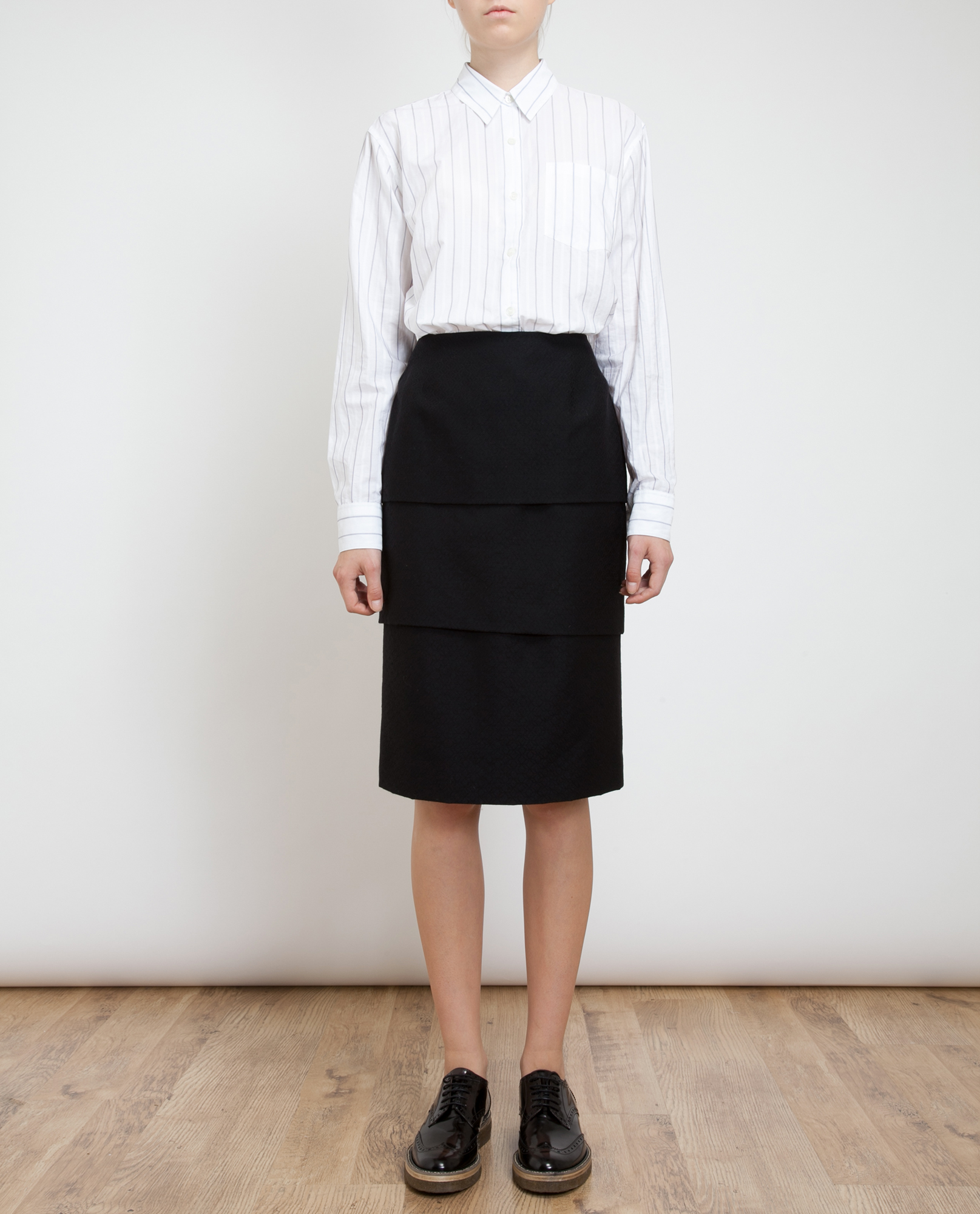 dries noten soyo tiered cottonwool pencil skirt in