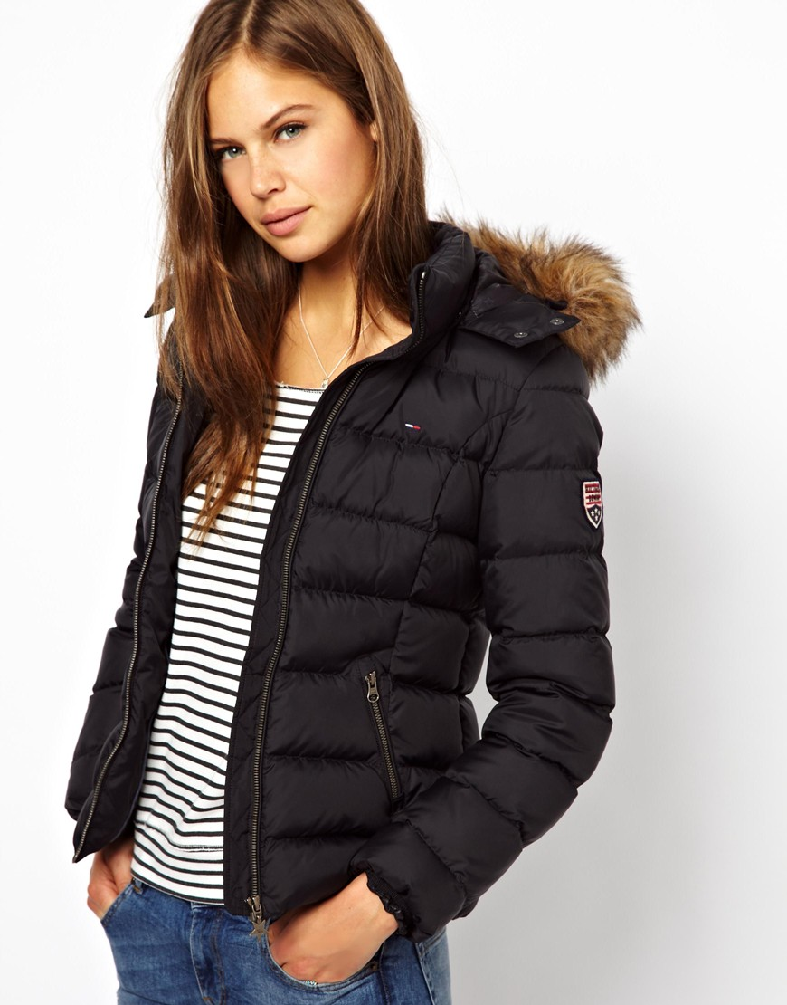Hilfiger denim Down Padded Coat with Fur Trim in Black | Lyst