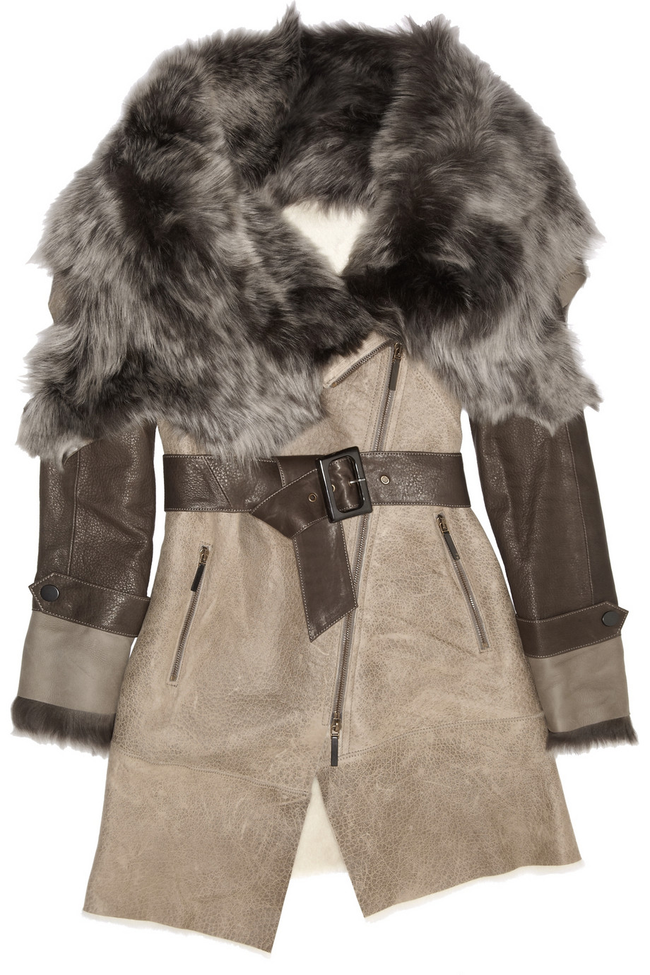 Karl donoghue Belted Shearling-Trimmed Leather Jacket in Gray | Lyst