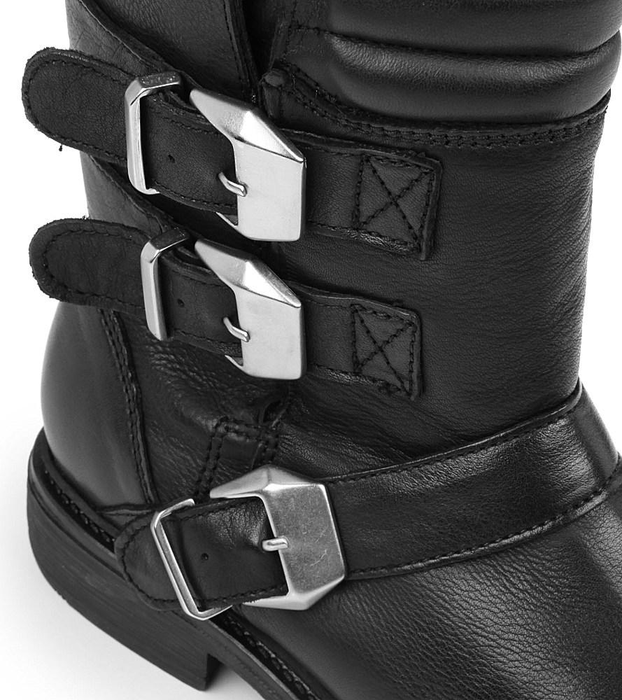 KG by Kurt Geiger Shout Leather Biker Boots in Black