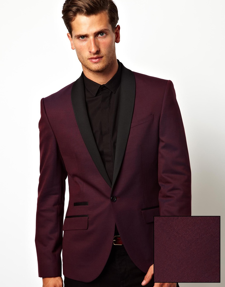French Connection Red Eleven Slim Fit Shawl Collar Blazer