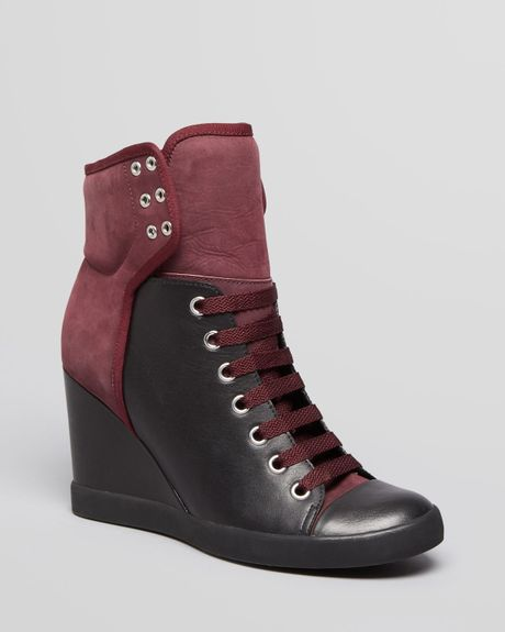 see by chlo lace up high top wedge sneakers gondola in black black burgandy lyst. Black Bedroom Furniture Sets. Home Design Ideas