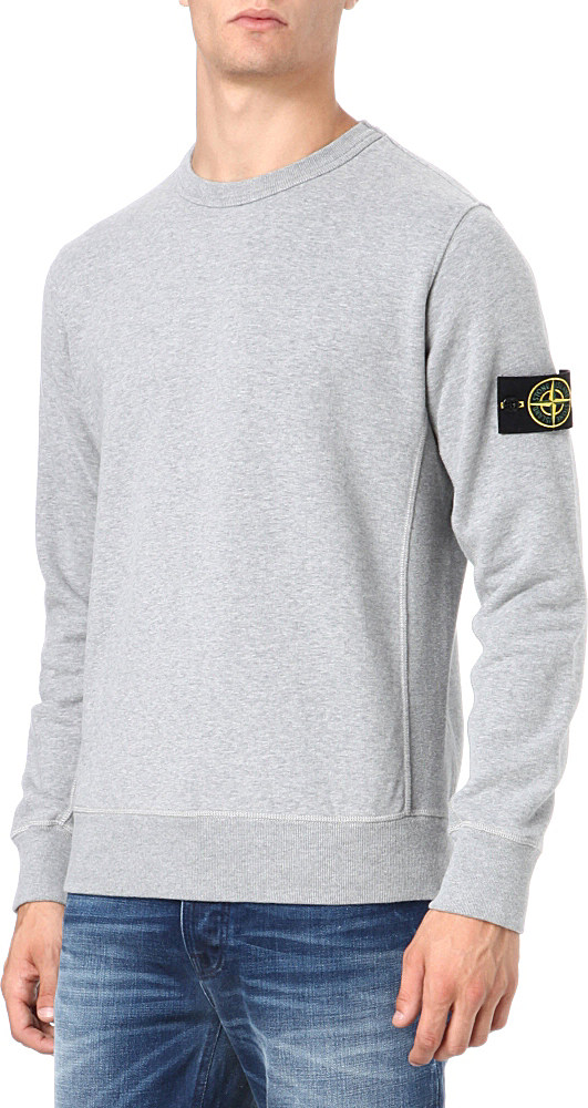49c09f1bff Stone Island Badge Sweatshirt in Gray for Men - Lyst