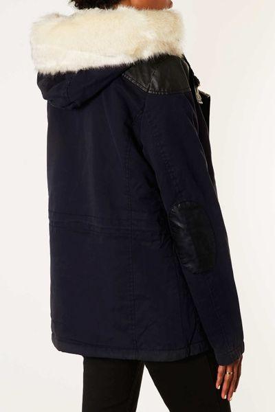 Borg Lined Parka Jacket Topshop Fur Trim Borg Lined Parka