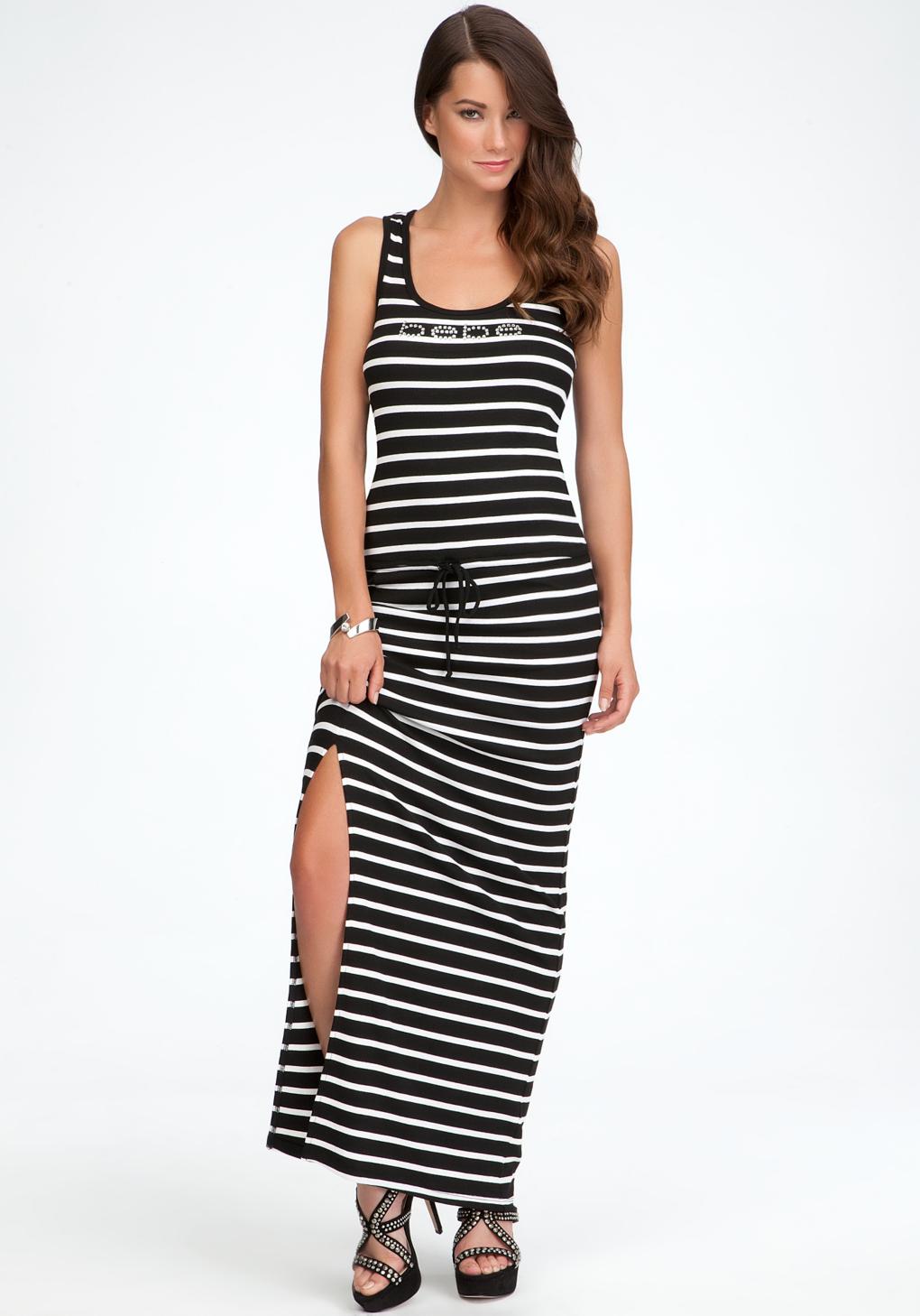 Lyst Bebe Logo Stripe Racerback Dress In Black