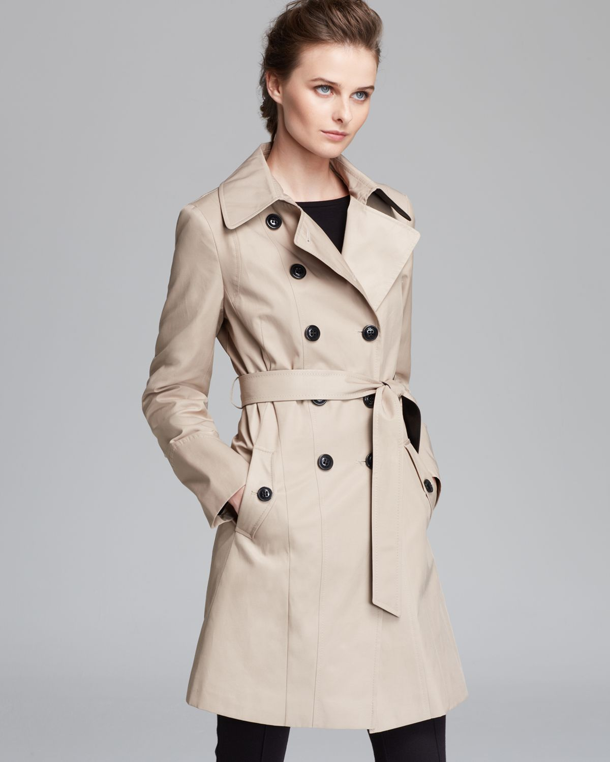 Lyst Dkny Combo Contrast Faux Leather Belted Trench Coat