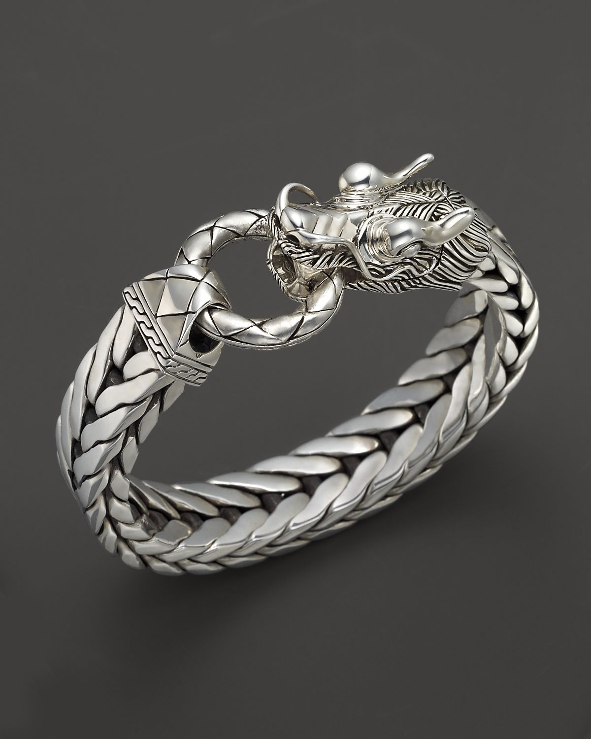 John Hardy Men S Naga Silver Dragon Head Bracelet On