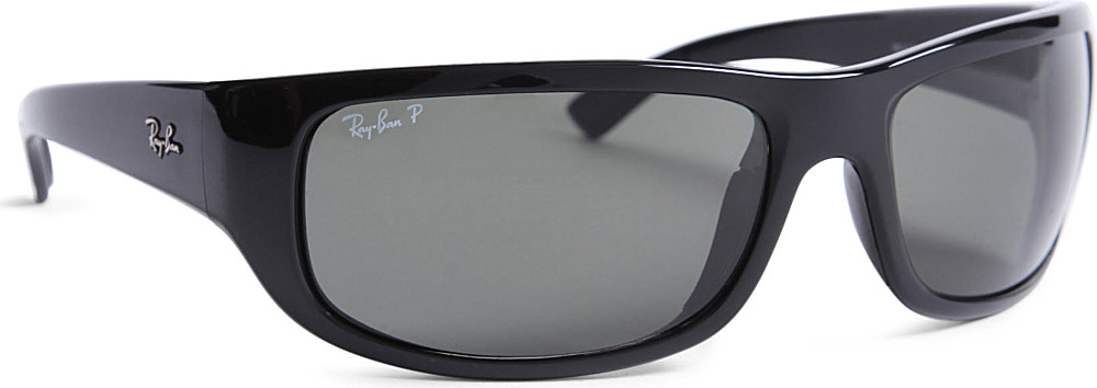 0df16c9fa2 ... sale ray ban polarized wraparound sunglasses in black for men lyst  67291 119dd